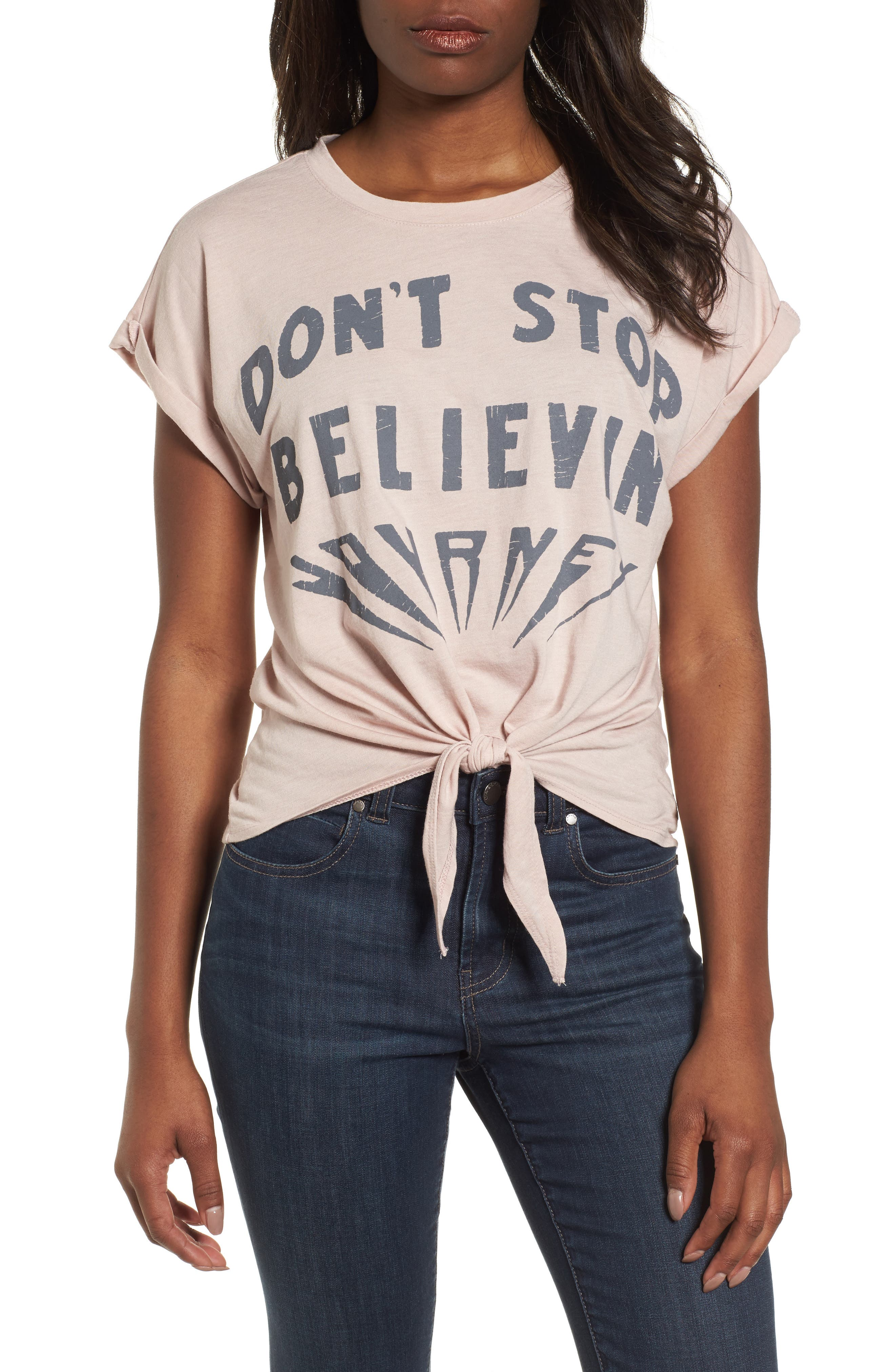 Don't Stop Believing Tie-Front Tee,                             Main thumbnail 1, color,                             Shadow Grey