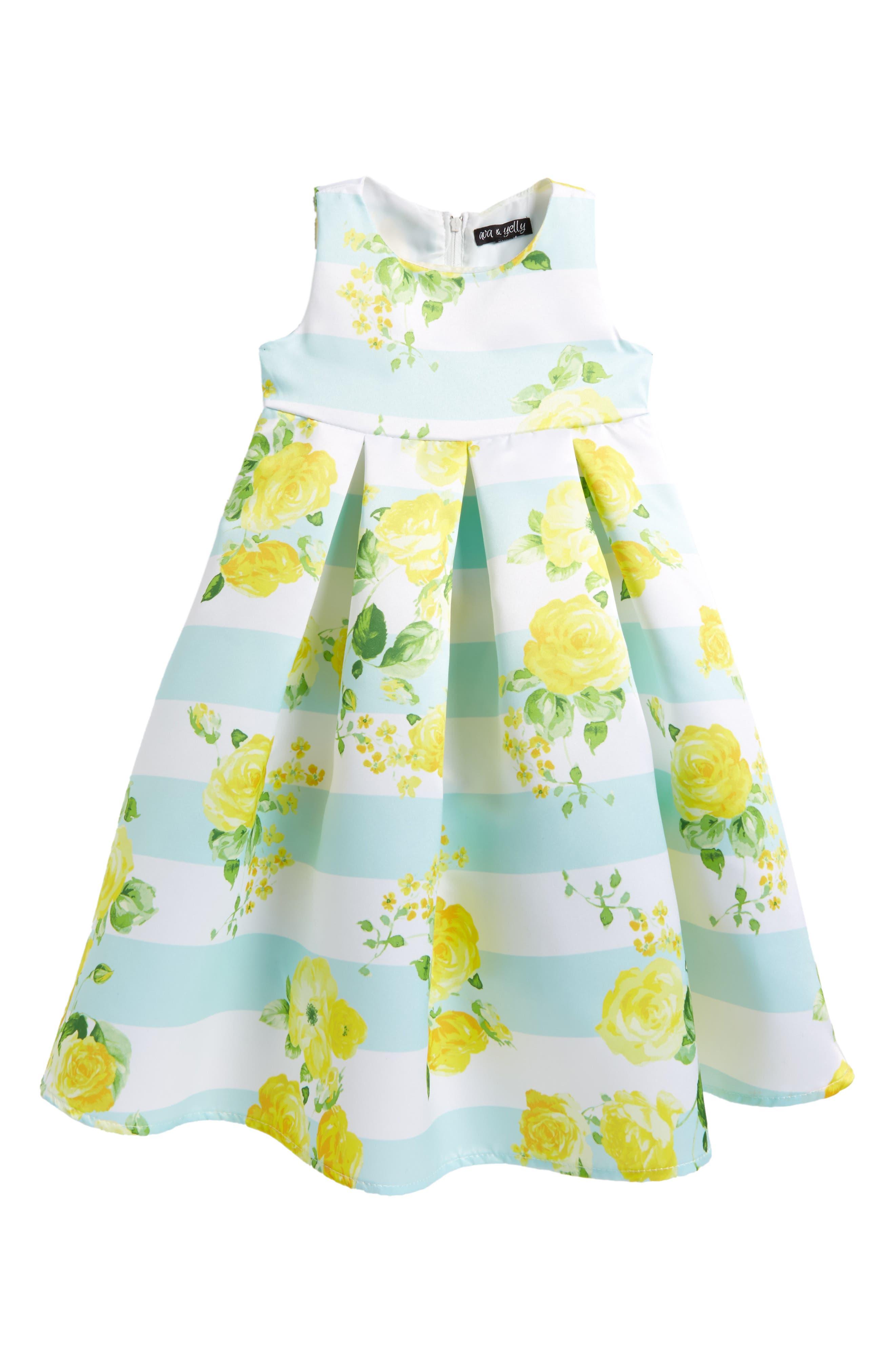 Stripe Empire Waist Dress,                             Main thumbnail 1, color,                             Yellow