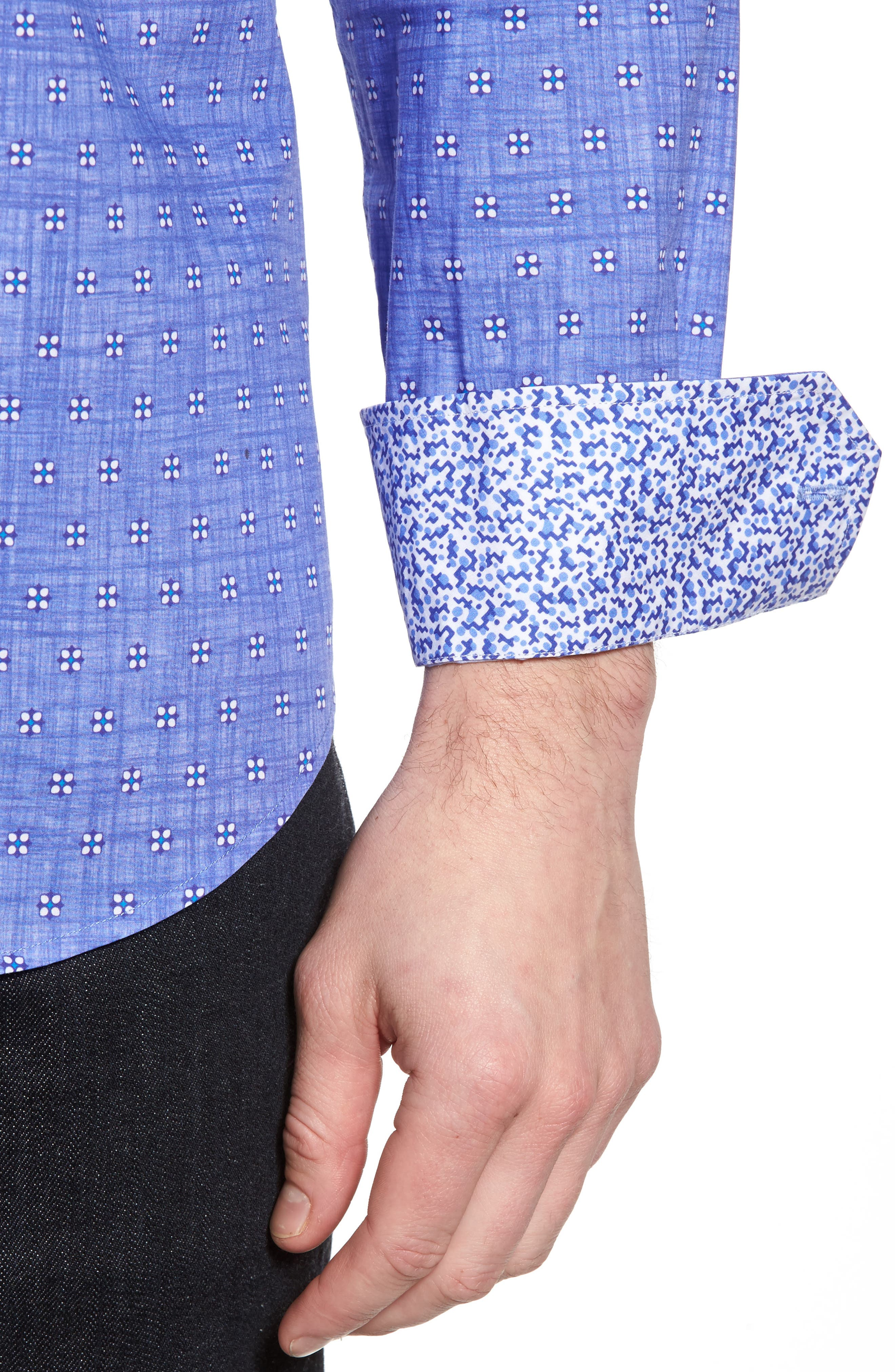 Shaped Fit Print Sport Shirt,                             Alternate thumbnail 4, color,                             Orchid