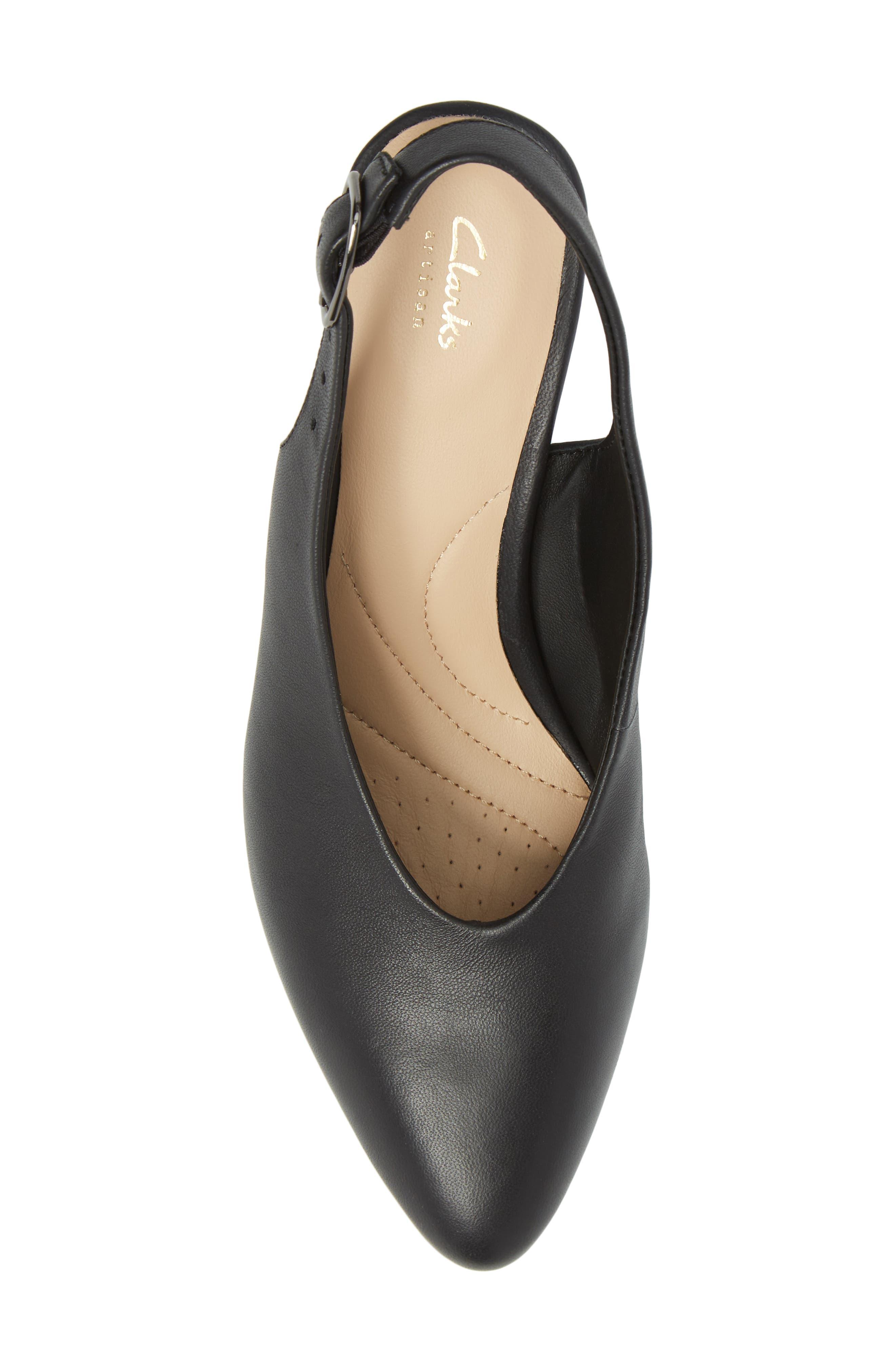 Calla Violet Kitten Heel Pump,                             Alternate thumbnail 5, color,                             Black Leather