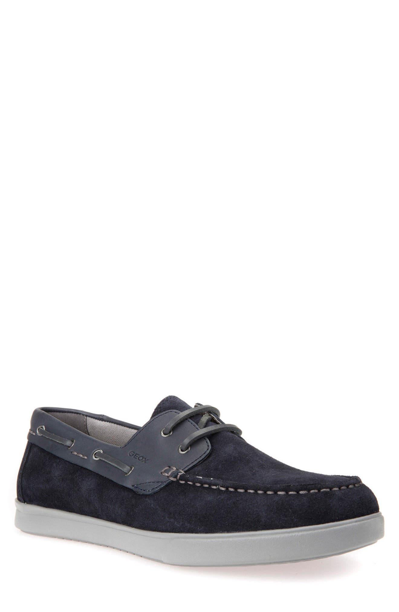 Walee 2 Boat Shoe,                         Main,                         color, Navy Suede/ Leather