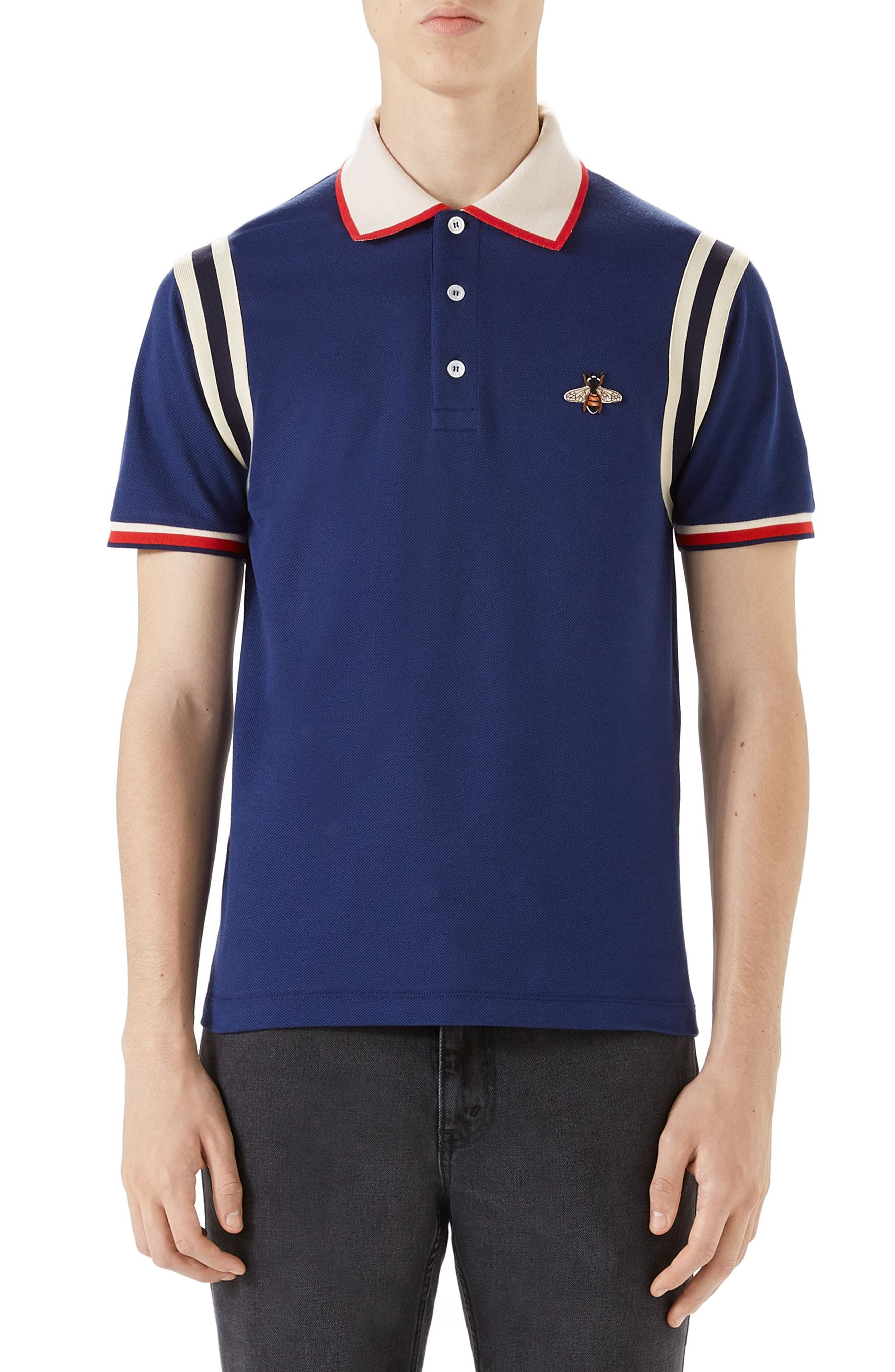 Gucci Stripe Sleeve Bee Polo