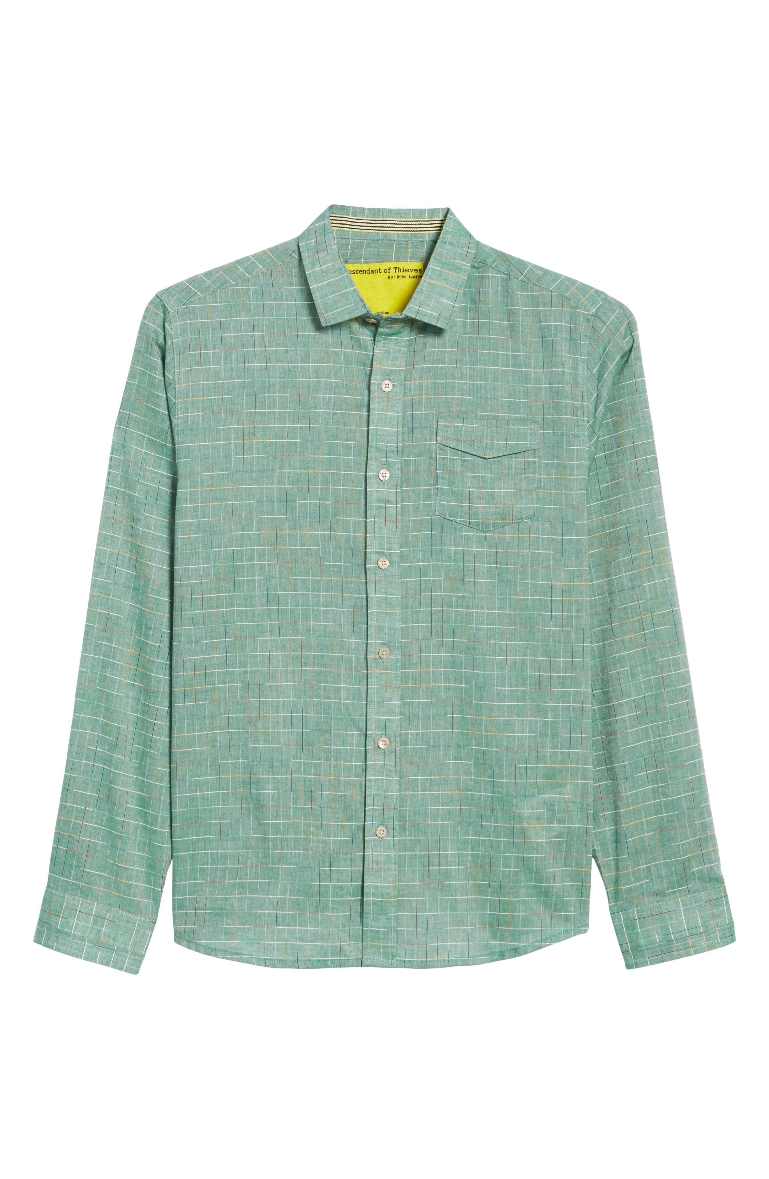Space Plaid Sport Shirt,                             Alternate thumbnail 6, color,                             Green Bay