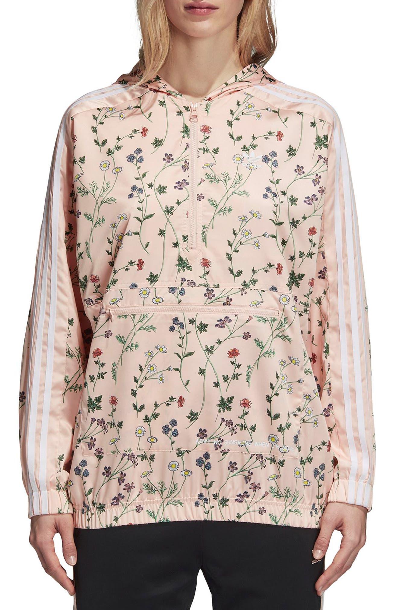 Originals Floral Hooded Windbreaker,                         Main,                         color, Pink - Flower Aop
