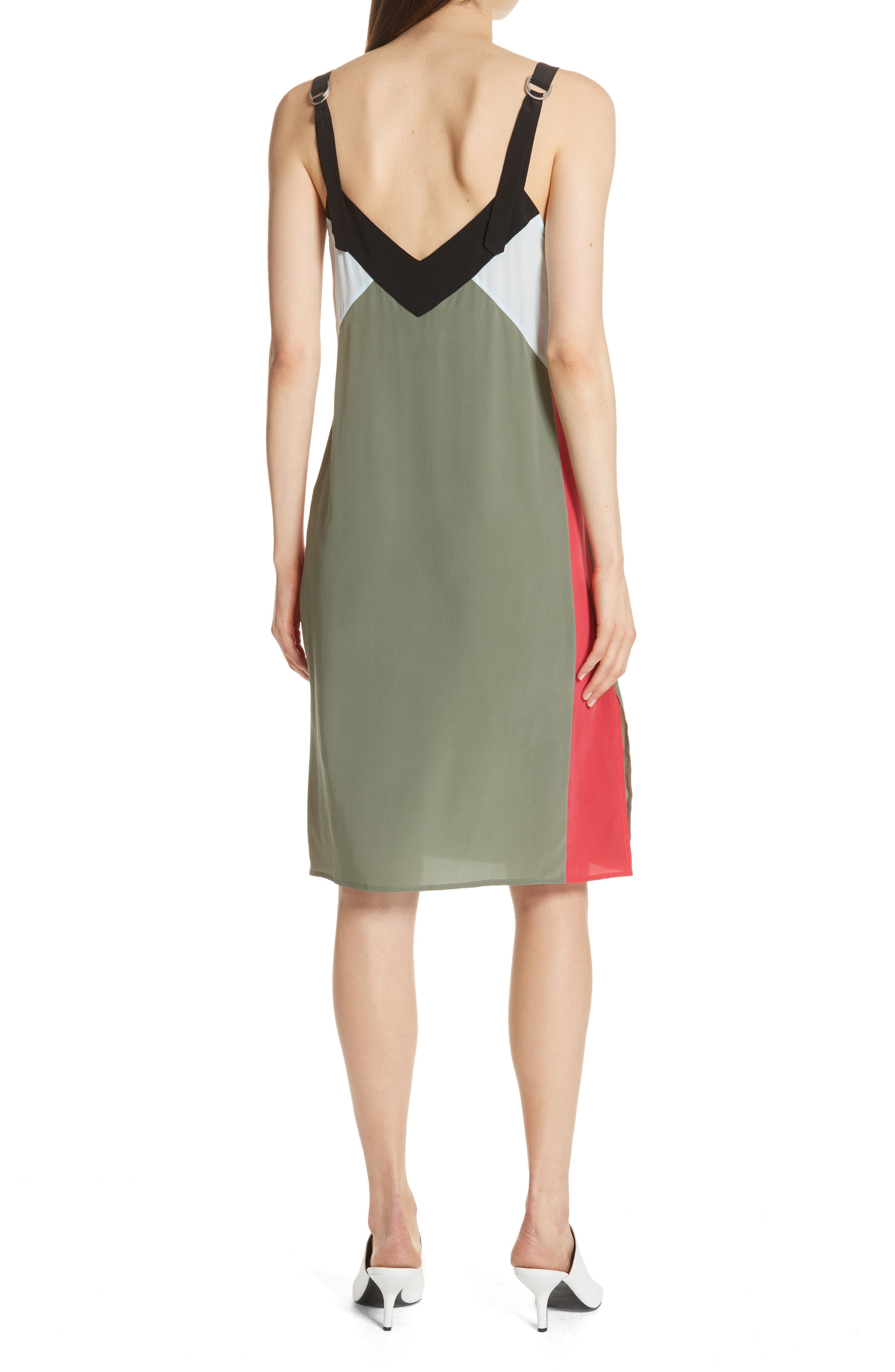 Robbi Colorblock Silk Slipdress,                             Alternate thumbnail 2, color,                             Camouflage
