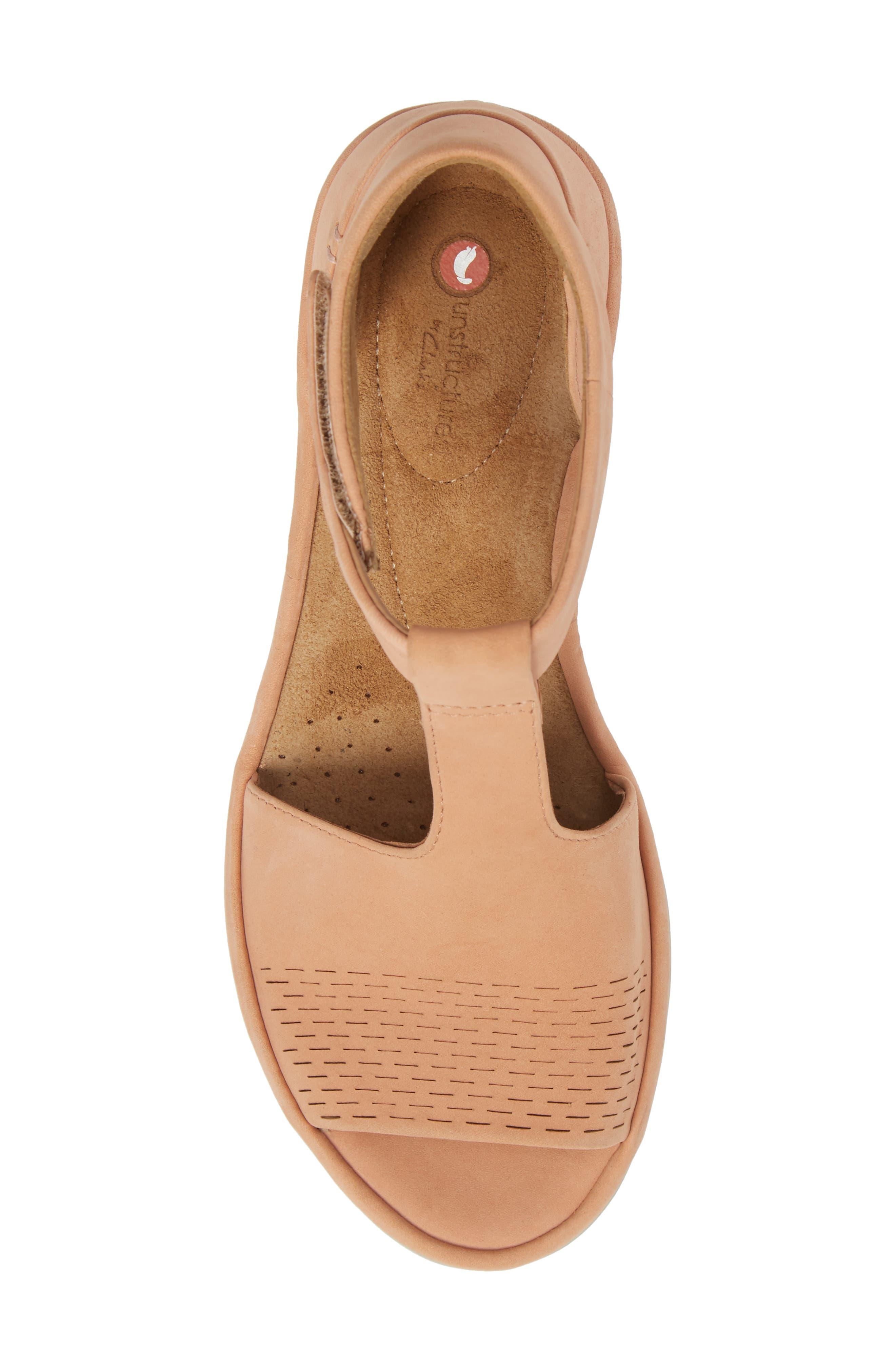 Wynnmere Avah T-Strap Wedge Sandal,                             Alternate thumbnail 5, color,                             Peach Nubuck