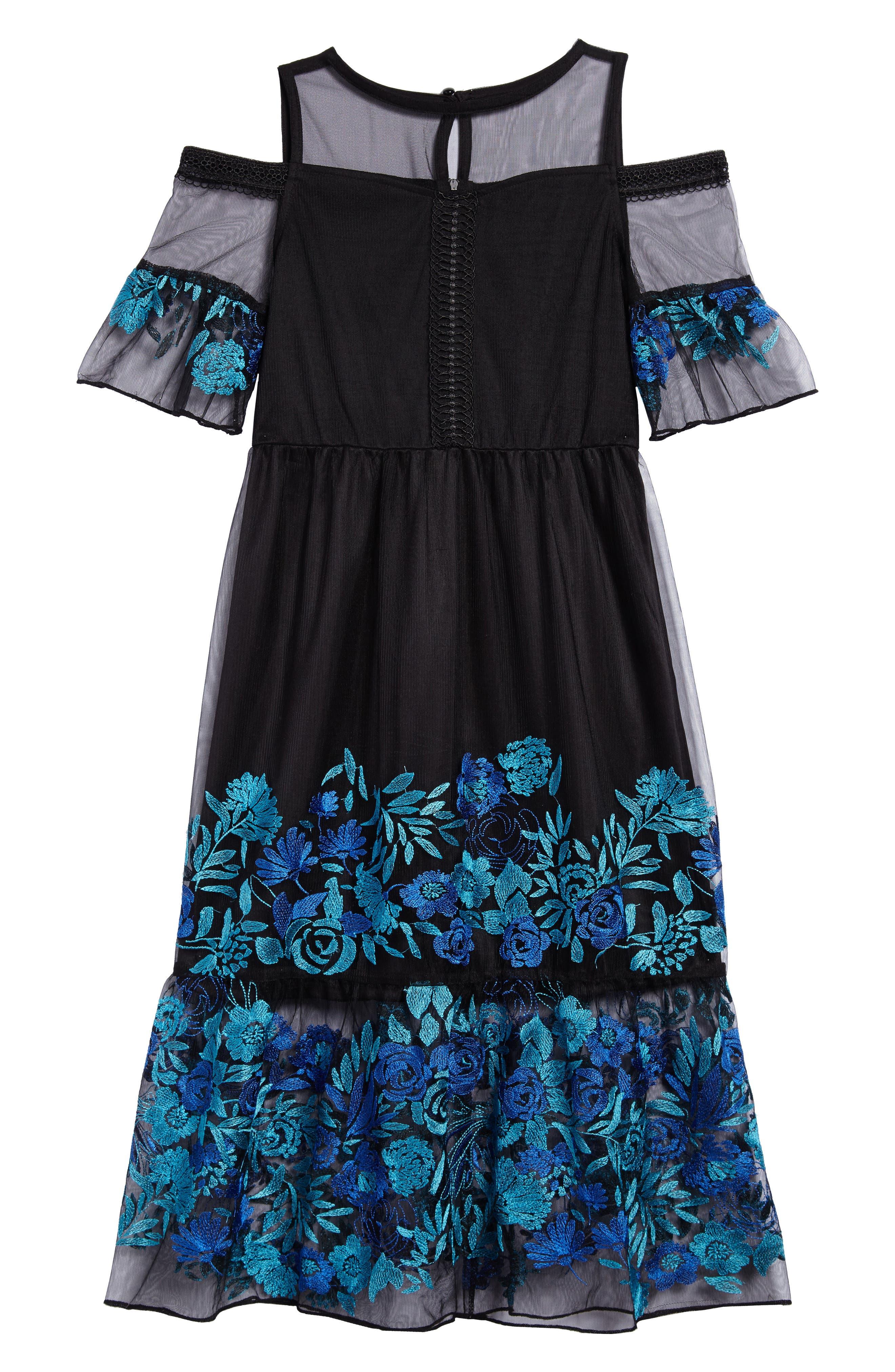 Embroidered Mesh Cold Shoulder Dress,                             Main thumbnail 1, color,                             Black