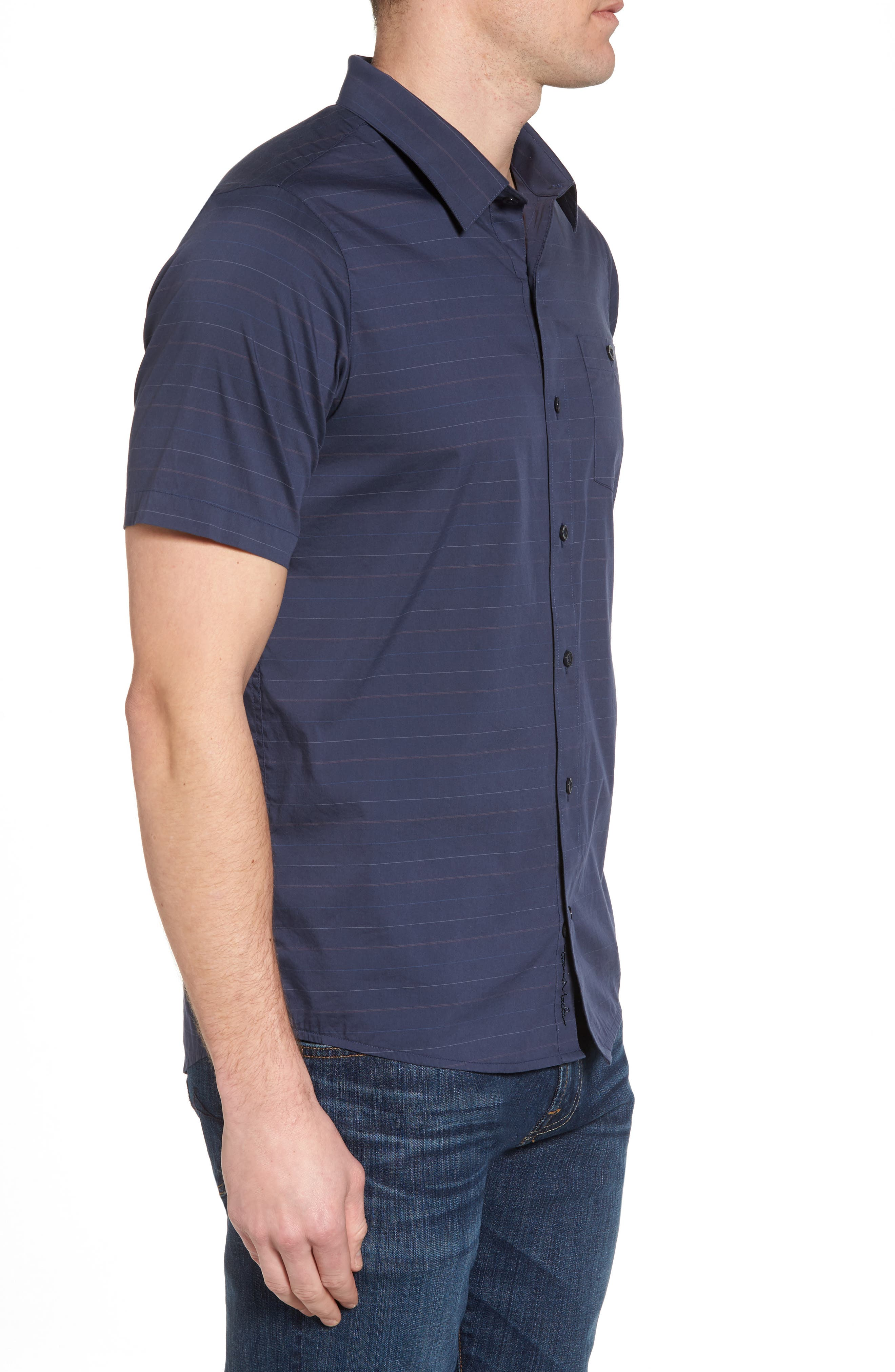 Alternate Image 3  - Travis Mathew Linear Slim Fit Sport Shirt