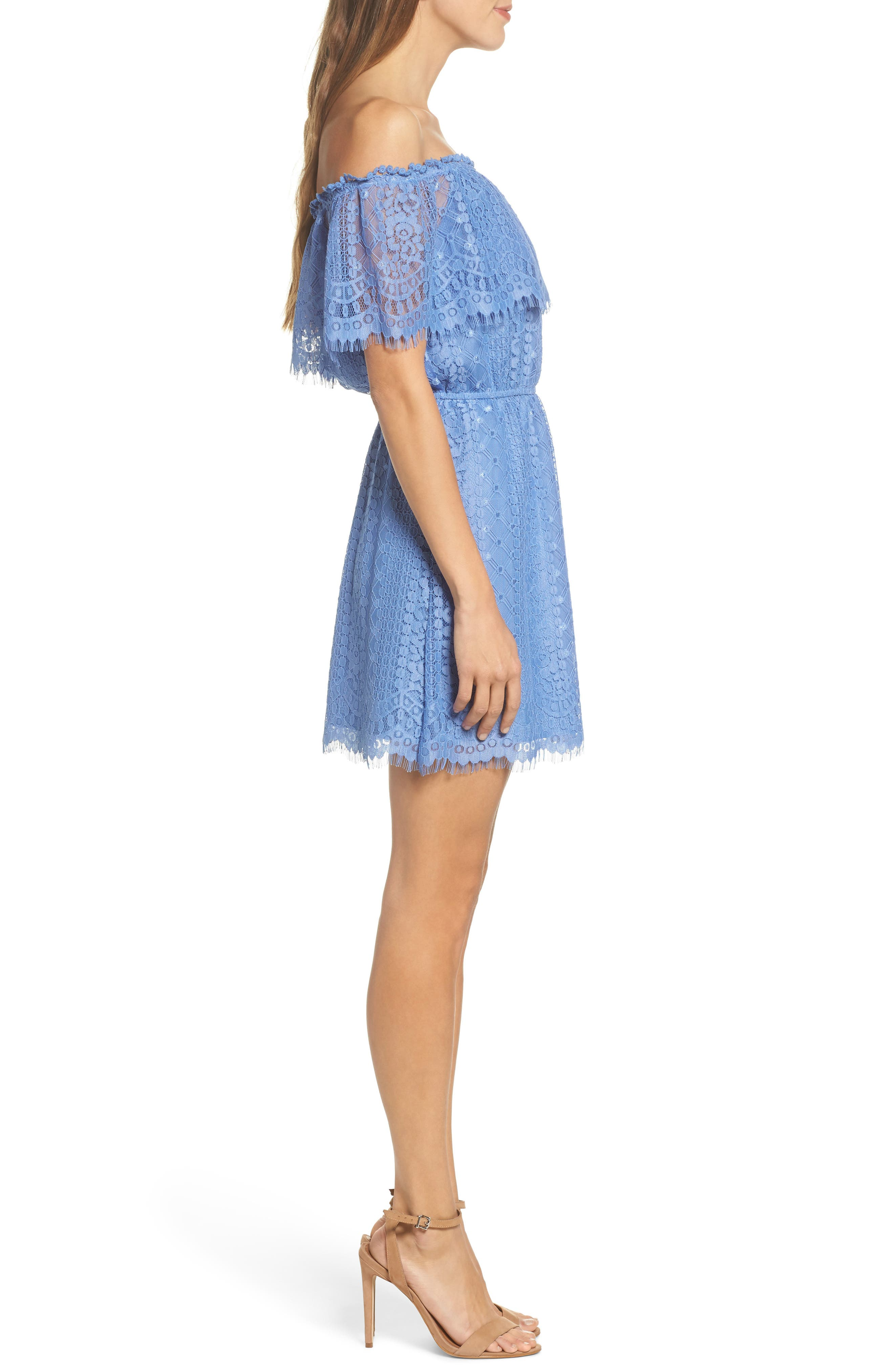 Zinnia Lace Ruffle Off the Shoulder Dress,                             Alternate thumbnail 3, color,                             French Blue