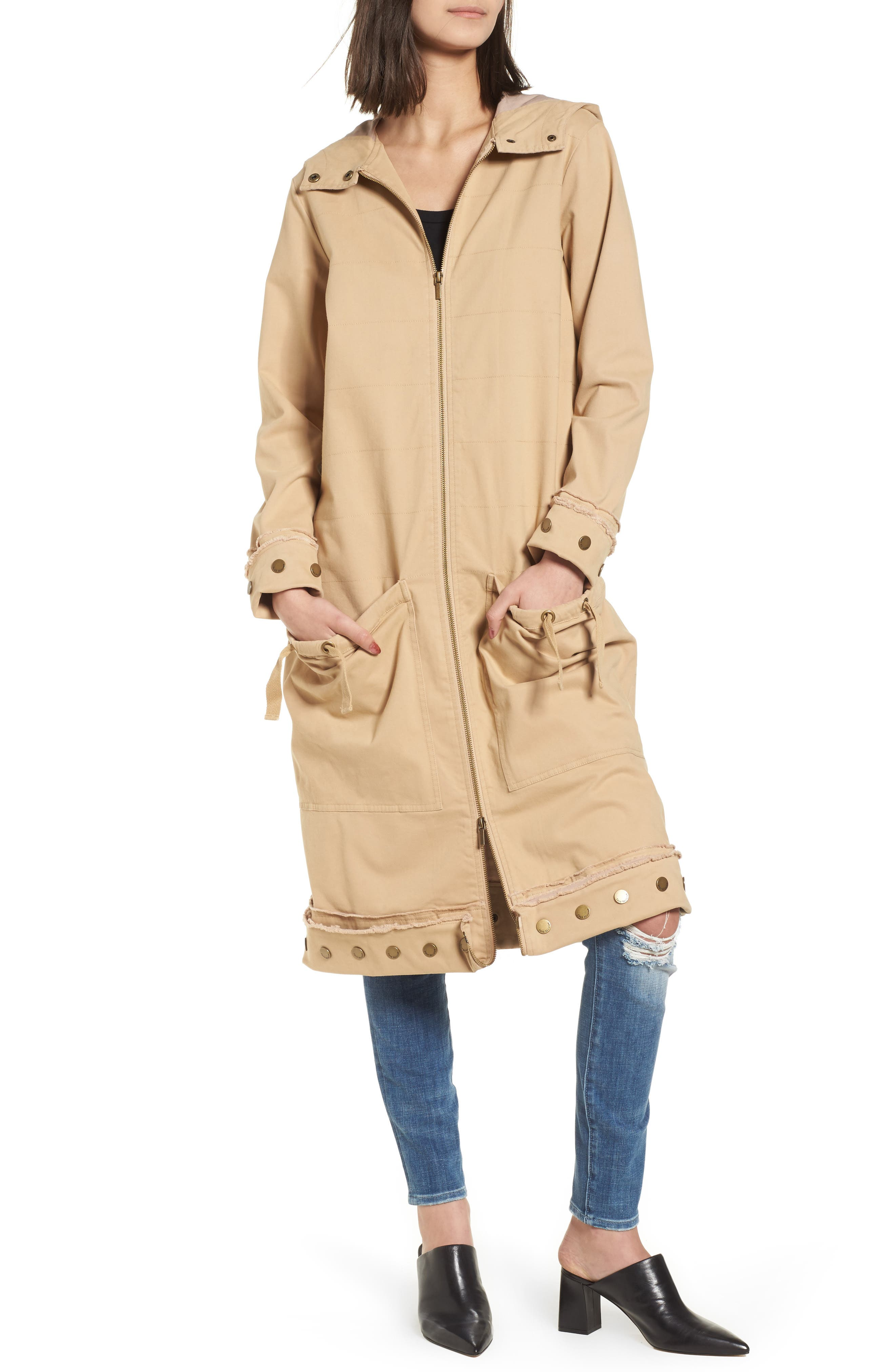 Snap Detail Trench Coat,                             Alternate thumbnail 4, color,                             Honey Taupe