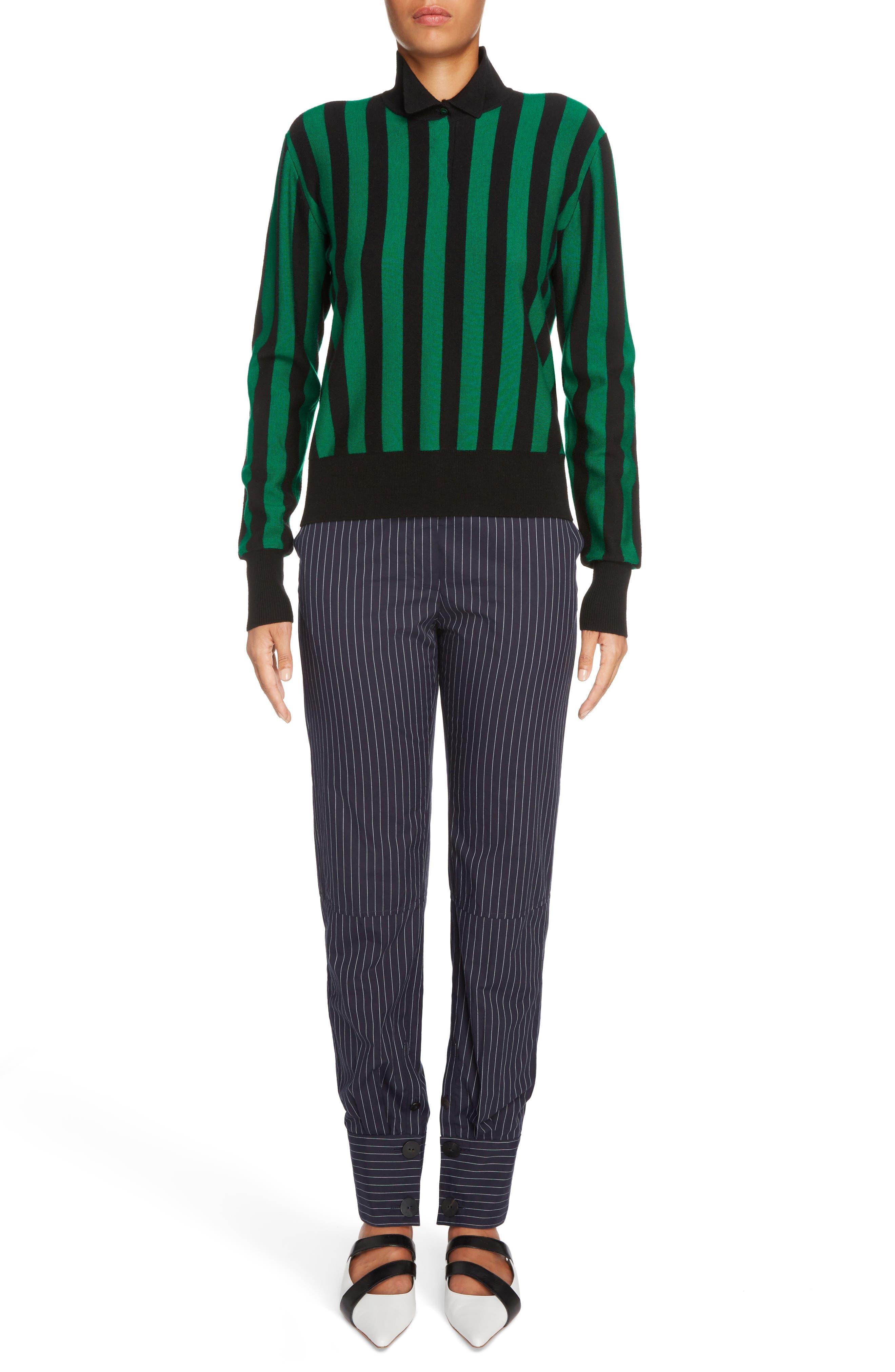 Stripe High Neck Sweater,                             Alternate thumbnail 6, color,                             Emerald