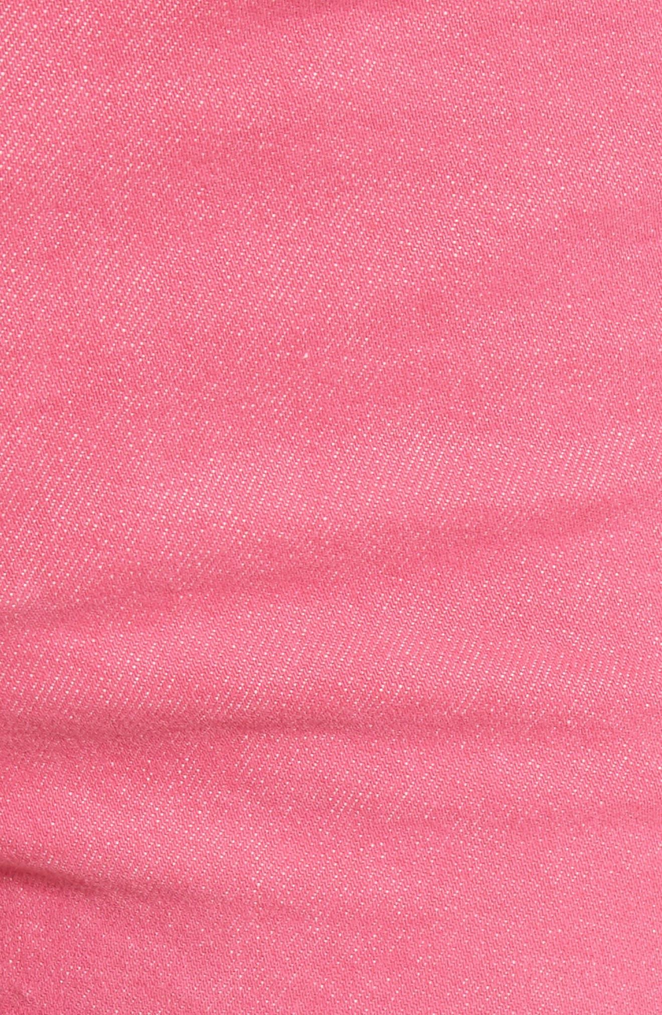 Justine High Waist Denim Shorts,                             Alternate thumbnail 6, color,                             Bull Pink