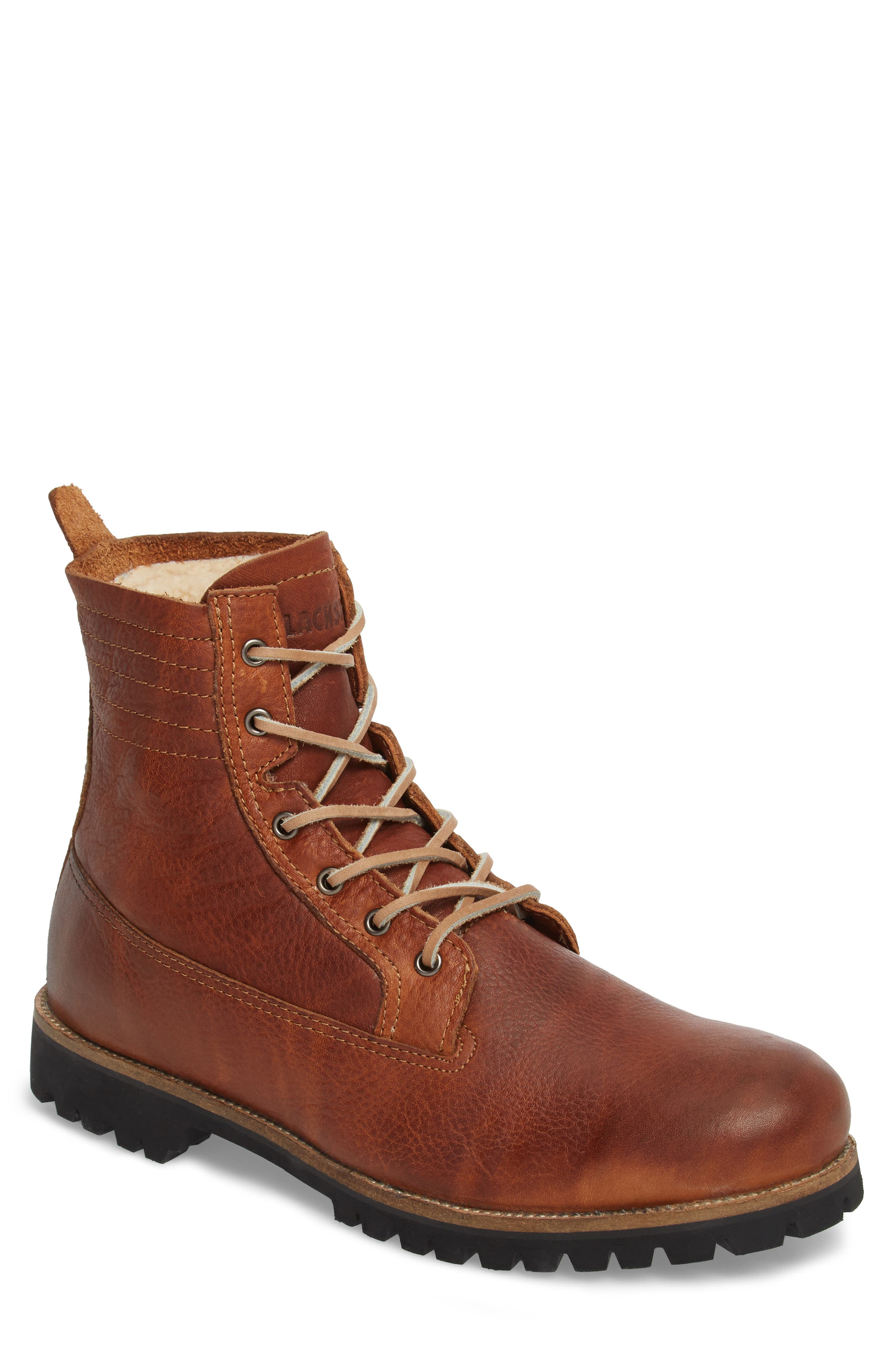 IM 12 Plain Toe Boot with Genuine Shearling,                         Main,                         color, Cuoio Leather
