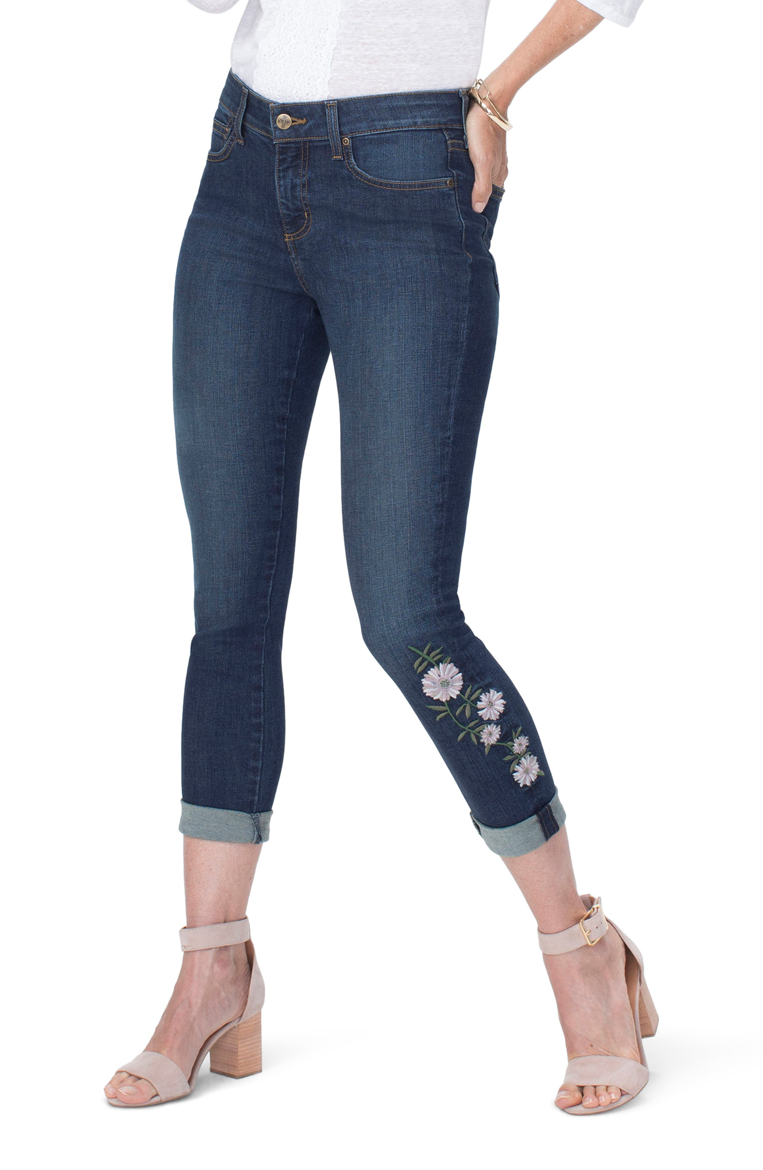 Alina Daisy Ankle Roll Cuff Jeans,                             Main thumbnail 1, color,                             Clean Bezel