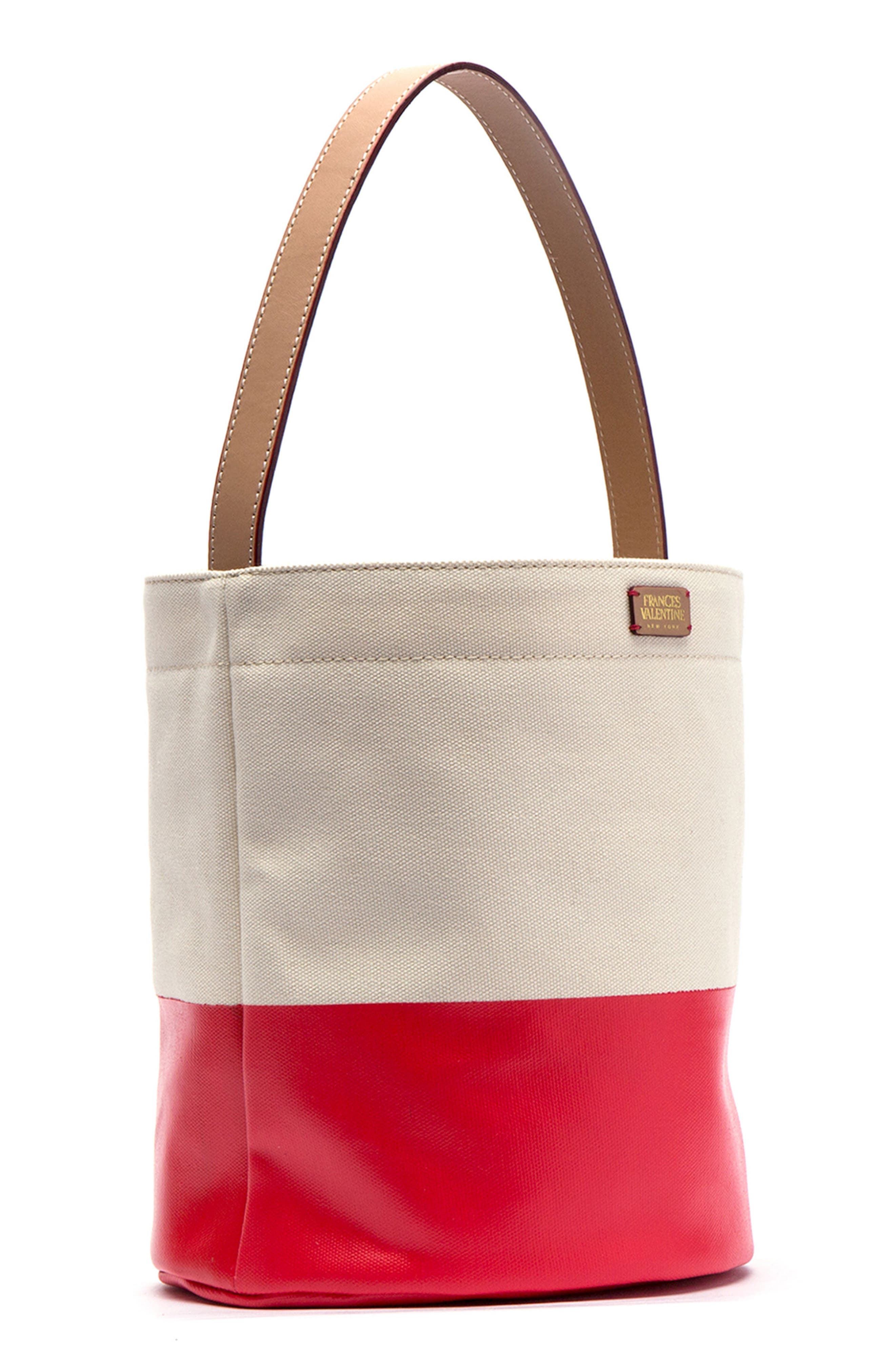 Large Canvas Bucket Bag,                         Main,                         color, Natural/ Red