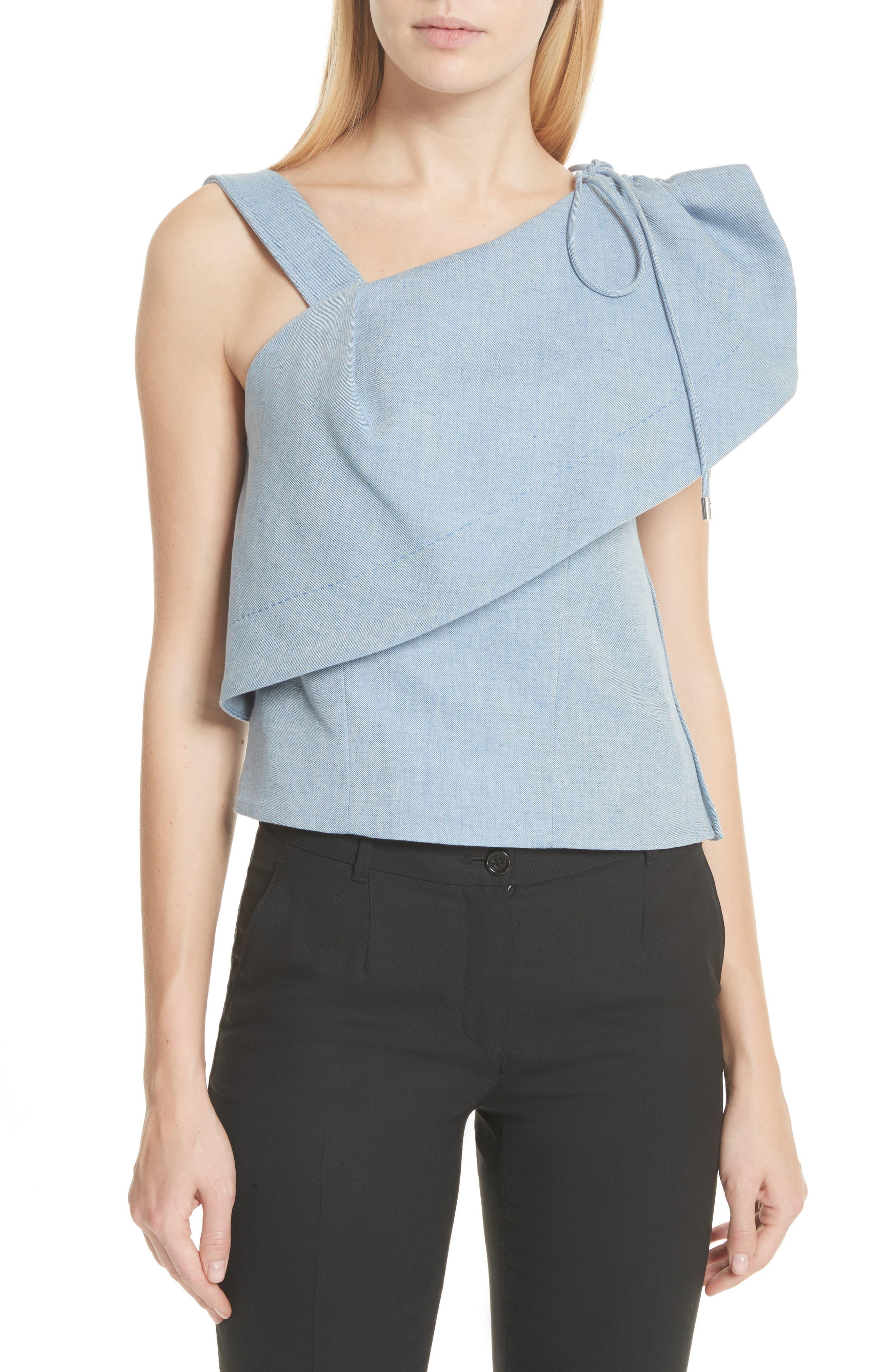 One-Shoulder Cotton & Linen Blend Top,                         Main,                         color, Bleu Acier