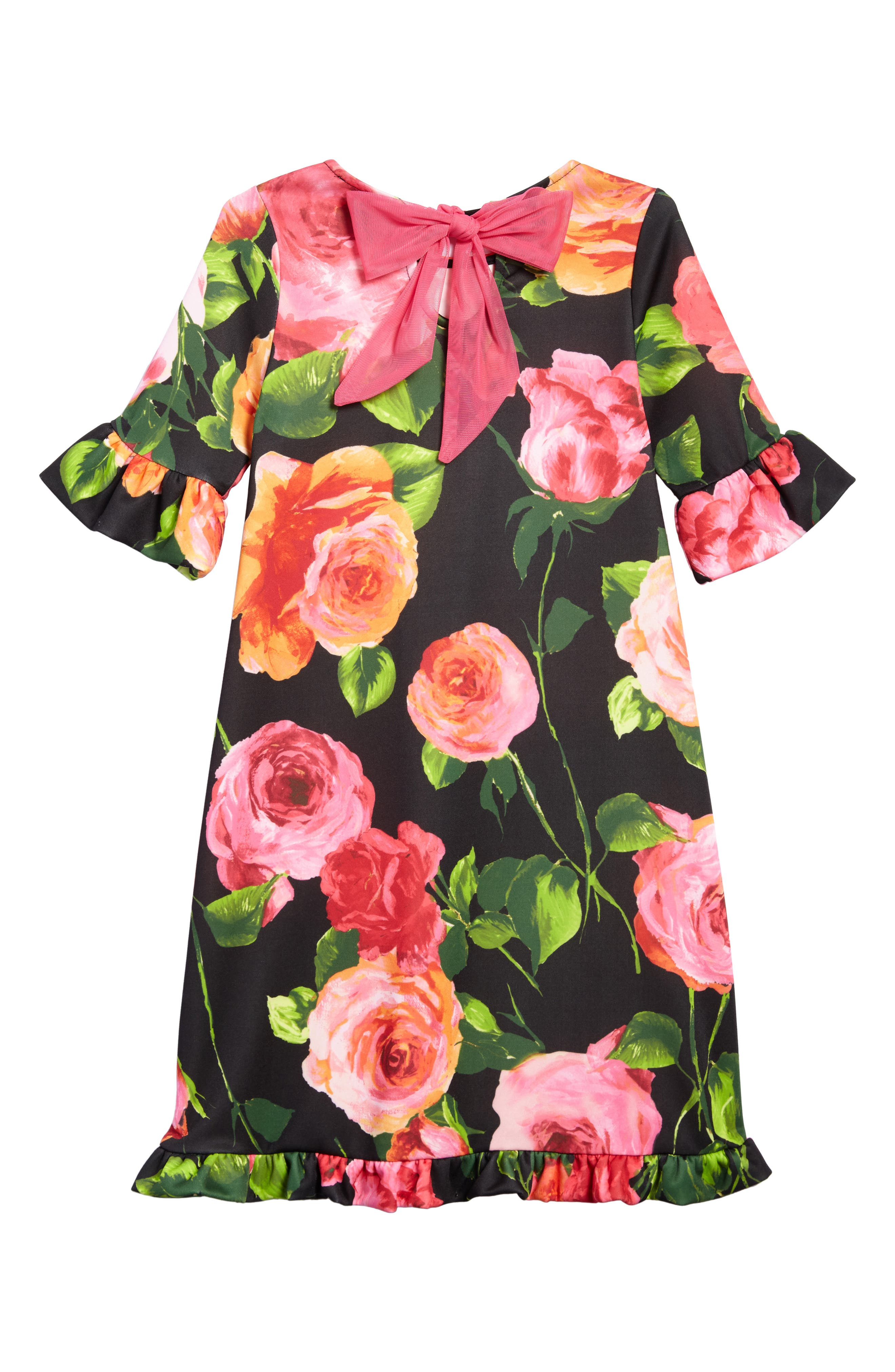 Alternate Image 2  - Ava & Yelly Floral Print Shift Dress (Big Girls)