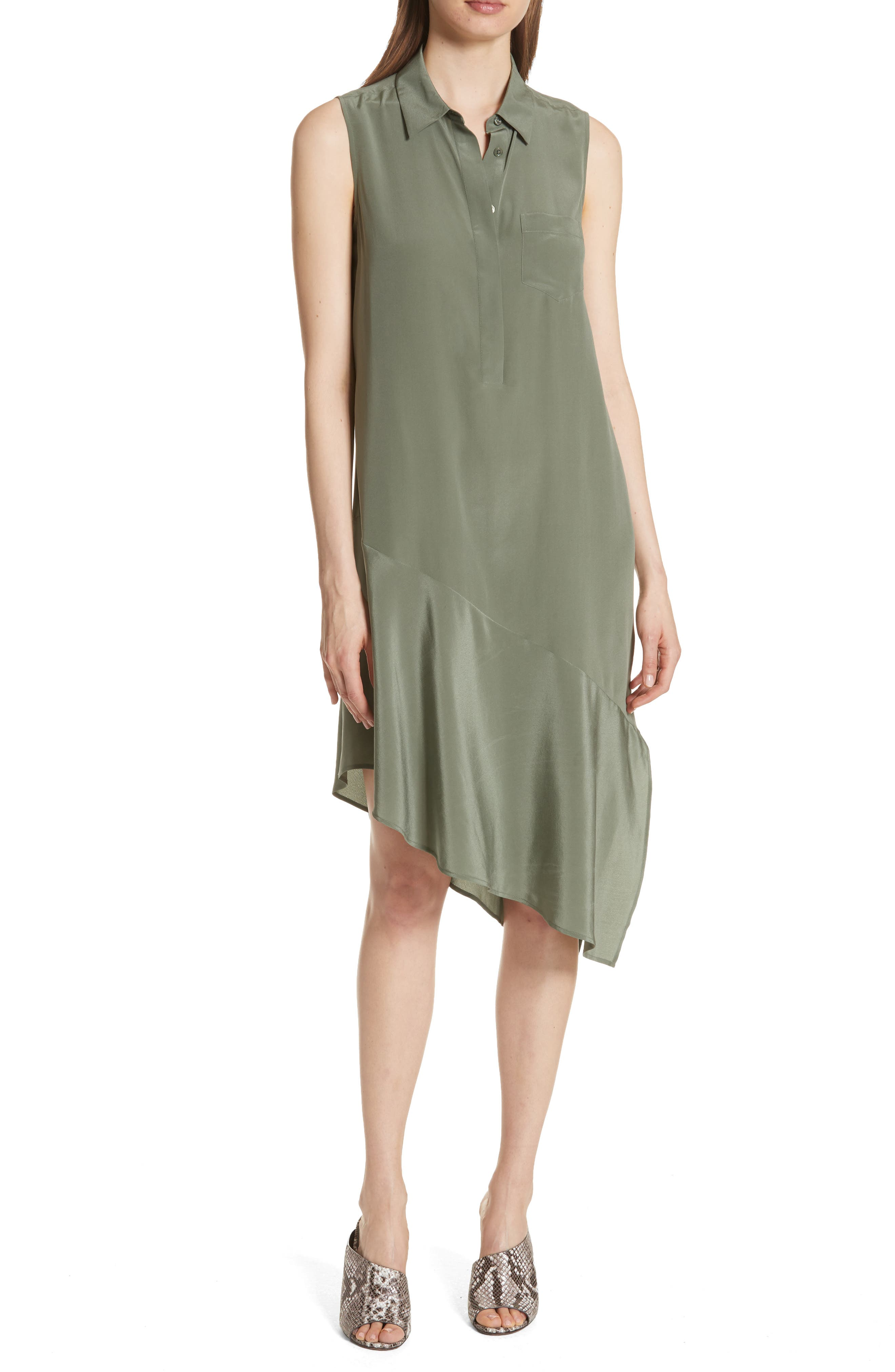 Tira Asymmetrical Hem Silk Shirtdress,                             Main thumbnail 1, color,                             Camouflage