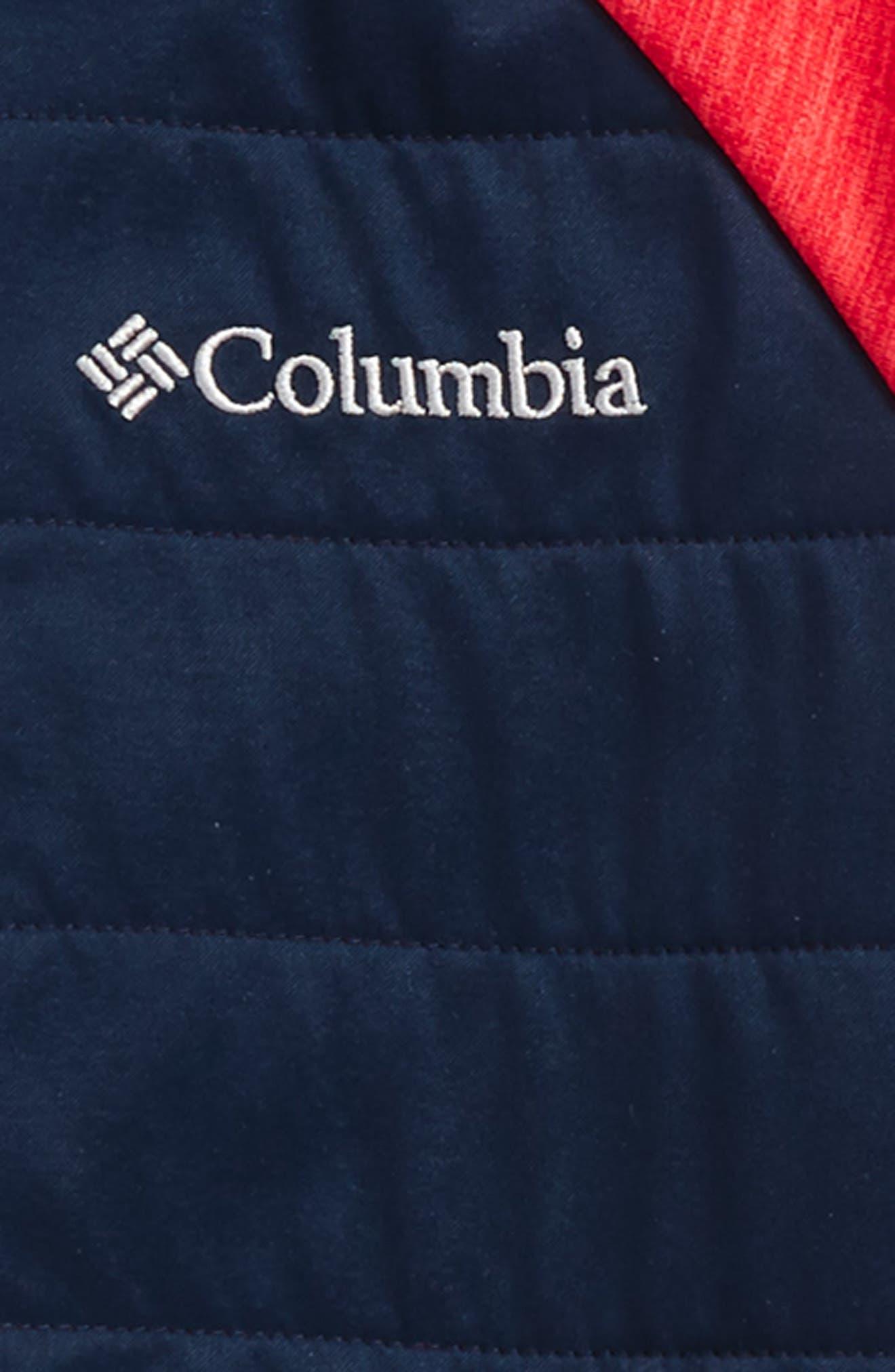 S'more Adventure Water Resistant Hybrid Hoodie,                             Alternate thumbnail 2, color,                             Red Heather/ Collegiate Navy