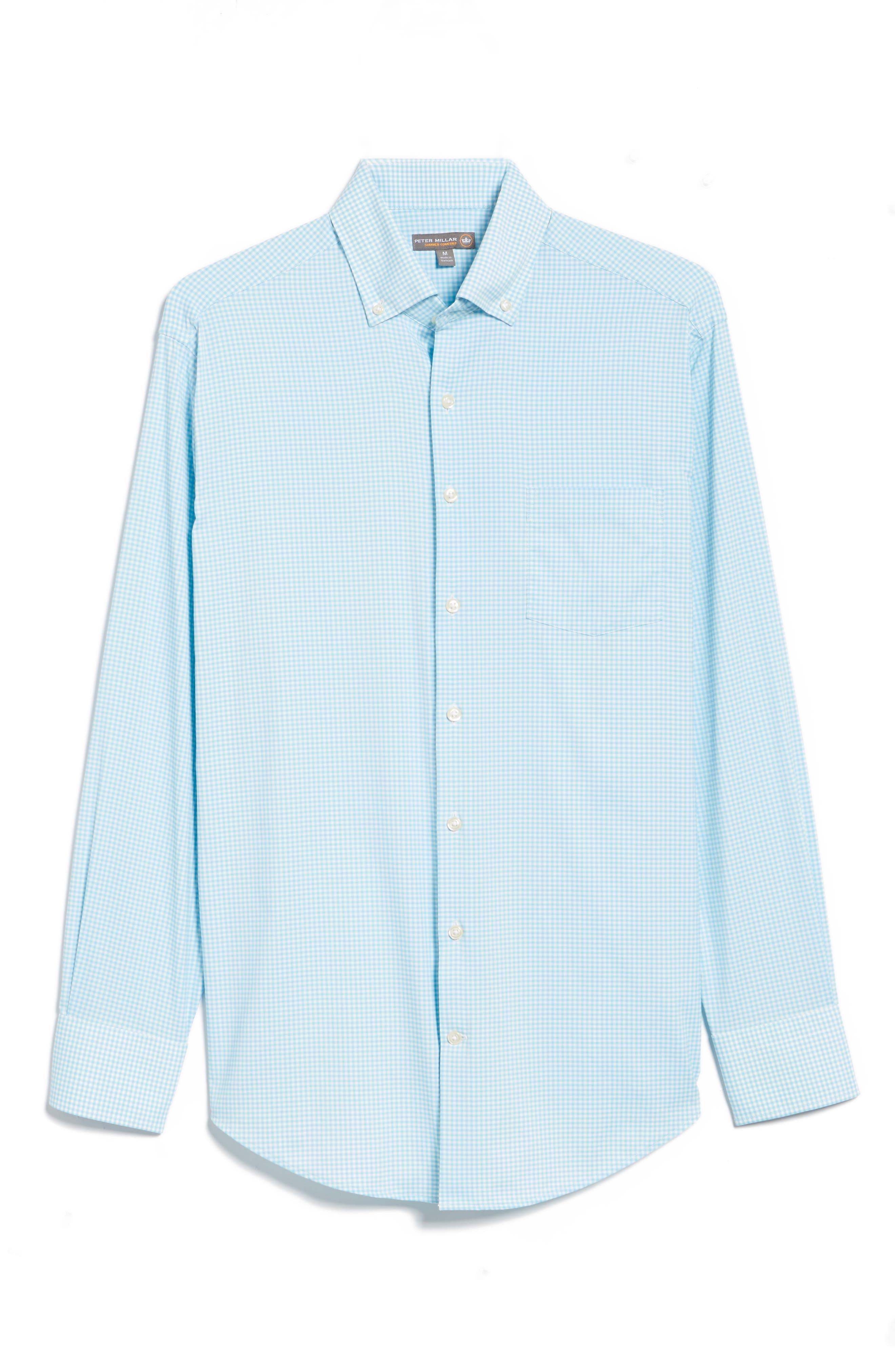 Mimi Regular Fit Check Performance Sport Shirt,                             Alternate thumbnail 6, color,                             Grotto Blue/ White
