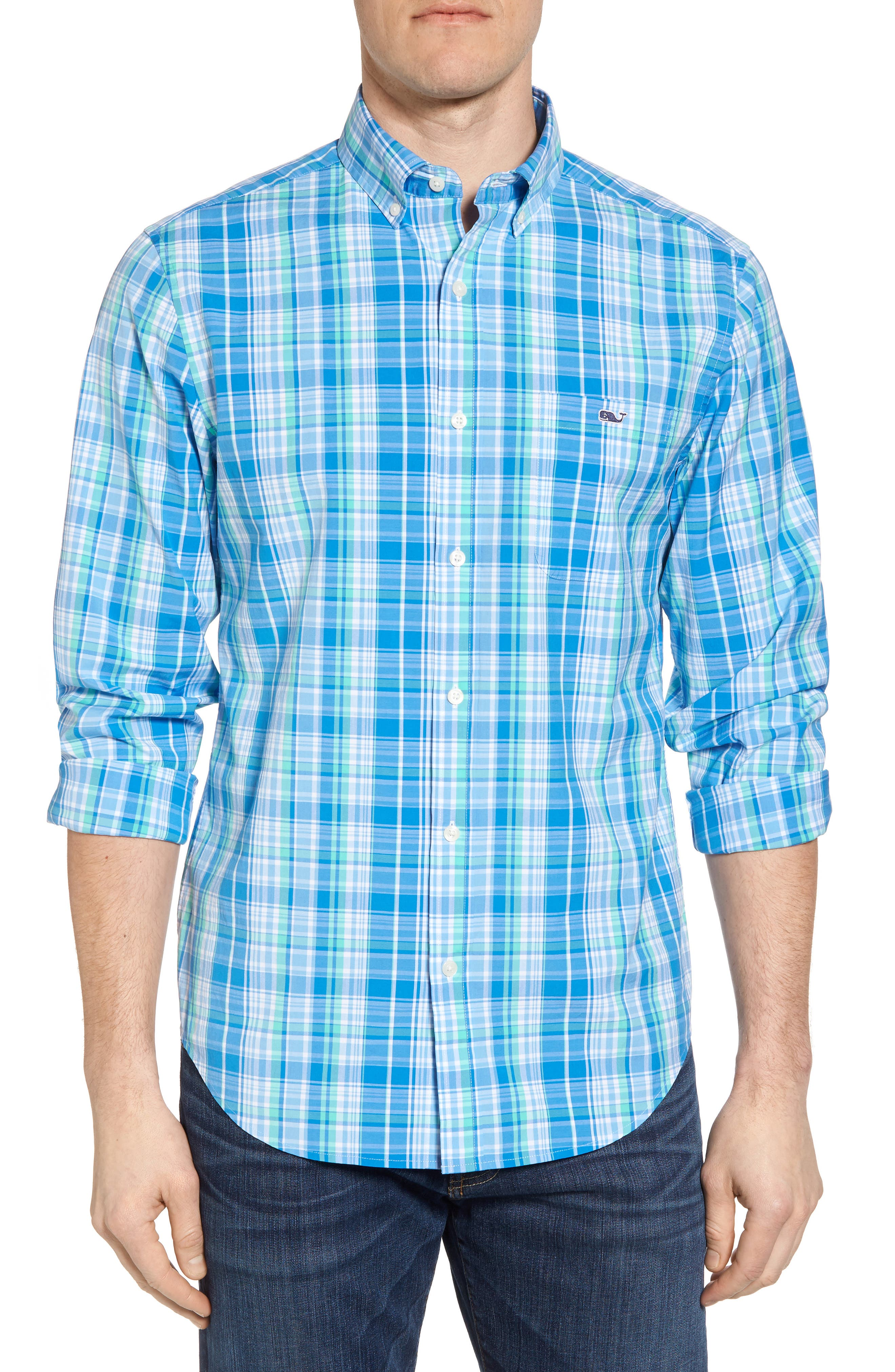 Bougainvillea Classic Fit Plaid Sport Shirt,                         Main,                         color, Antigua Green