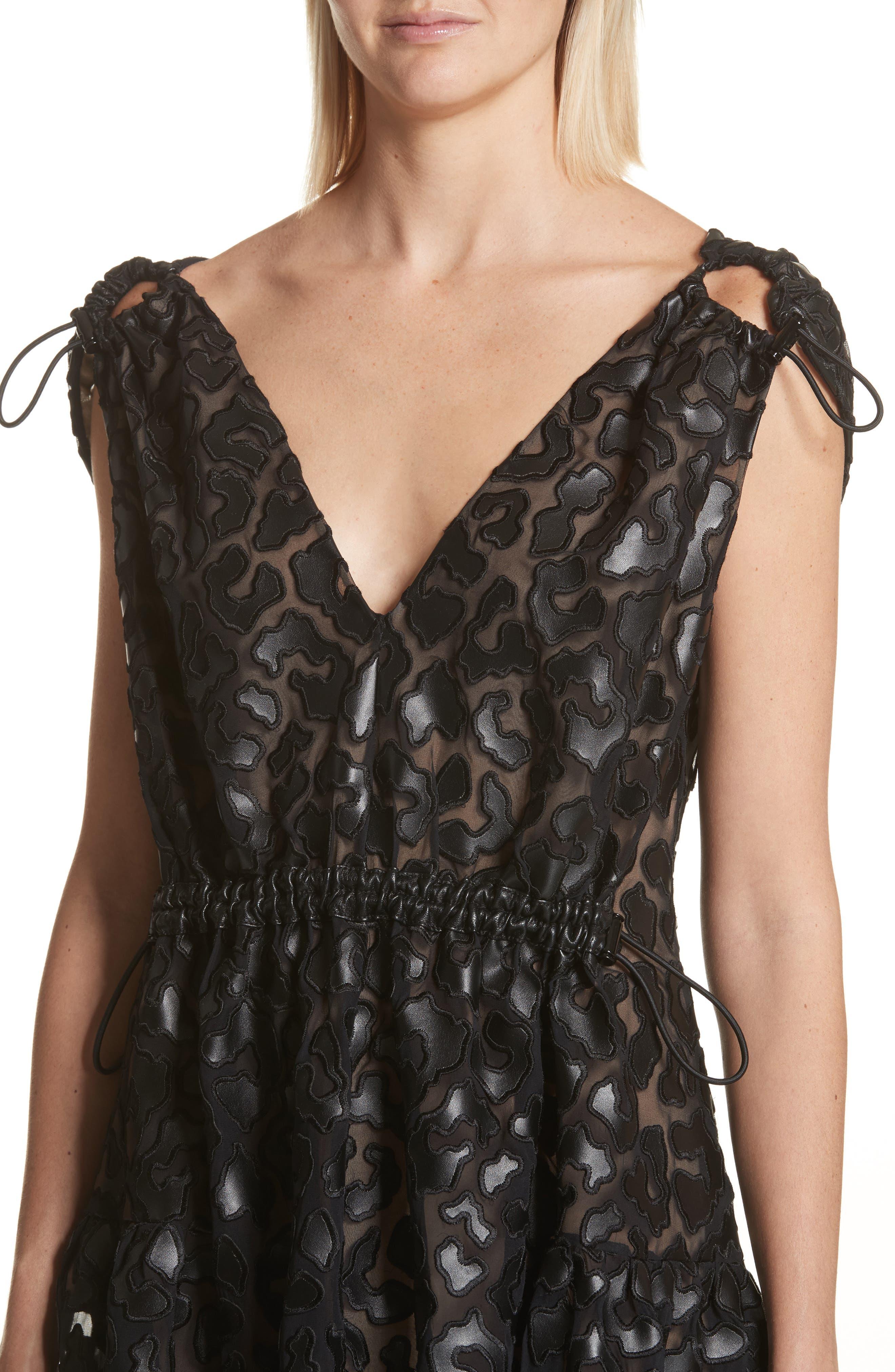 Faux Leather Leopard Print Dress,                             Alternate thumbnail 4, color,                             Black