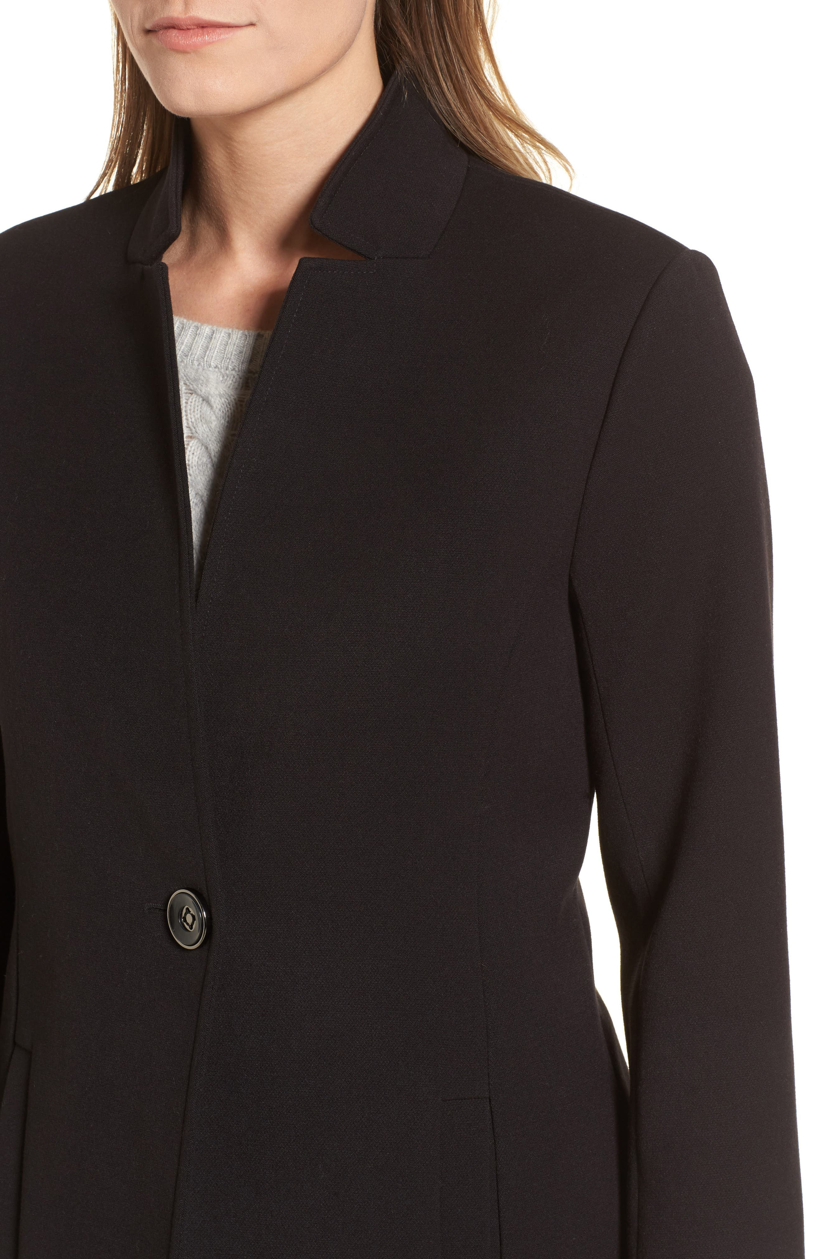 Ponte Knit Duster Jacket,                             Alternate thumbnail 4, color,                             Black