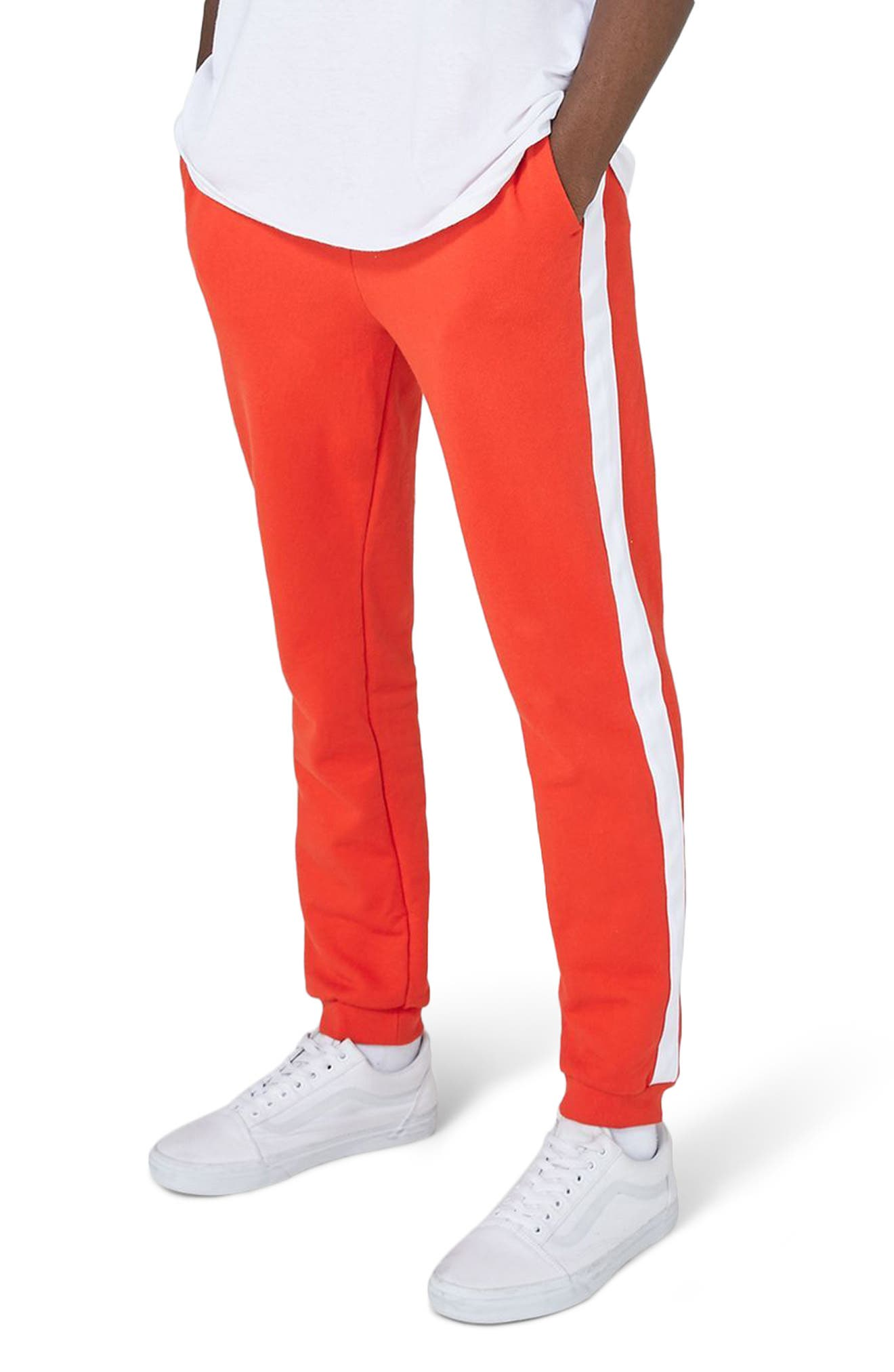 Side Tape Skinny Fit Jogger Pants,                             Main thumbnail 1, color,                             Red Multi