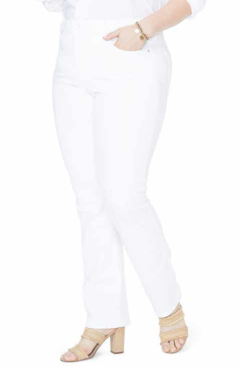 NYDJ Marilyn High Rise Stretch Straight Leg Jeans (Optic White) (Plus Size) by NYDJ