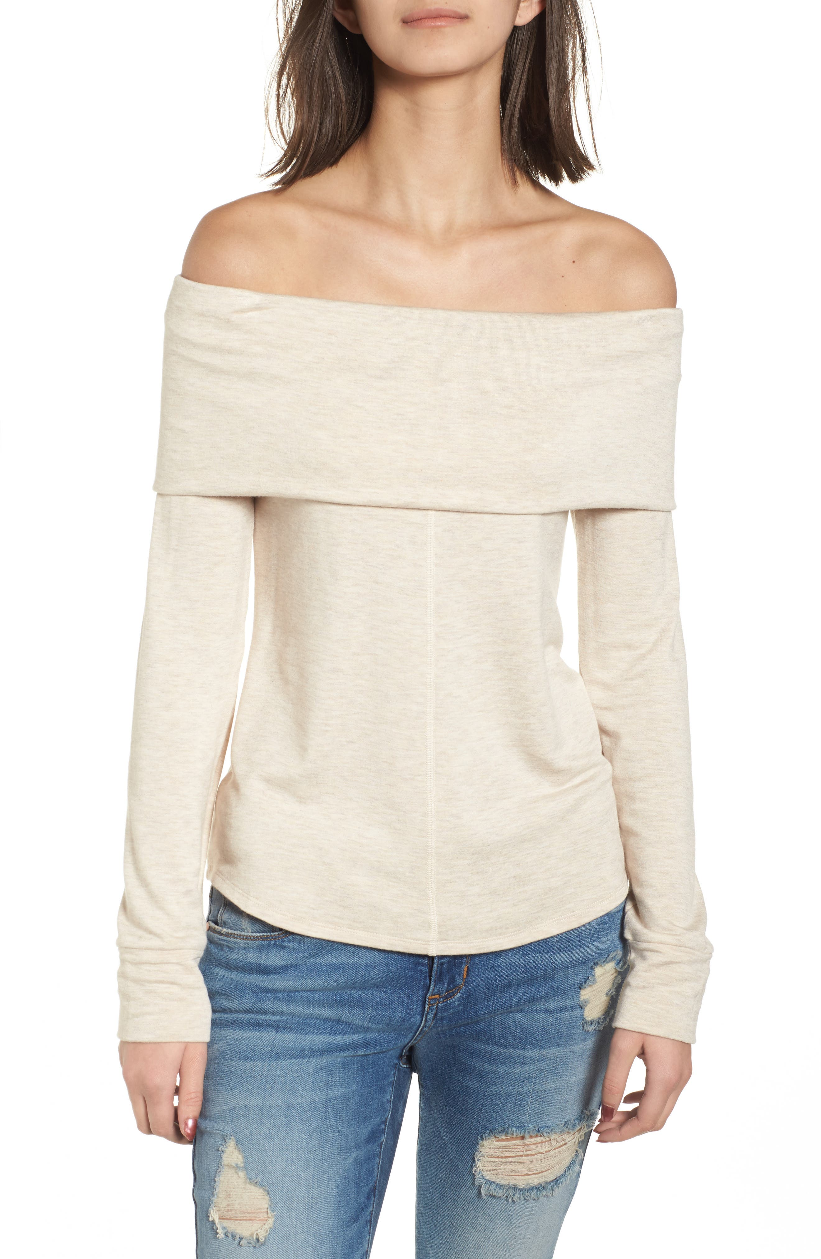 Foldover Off the Shoulder Top,                         Main,                         color, Oatmeal