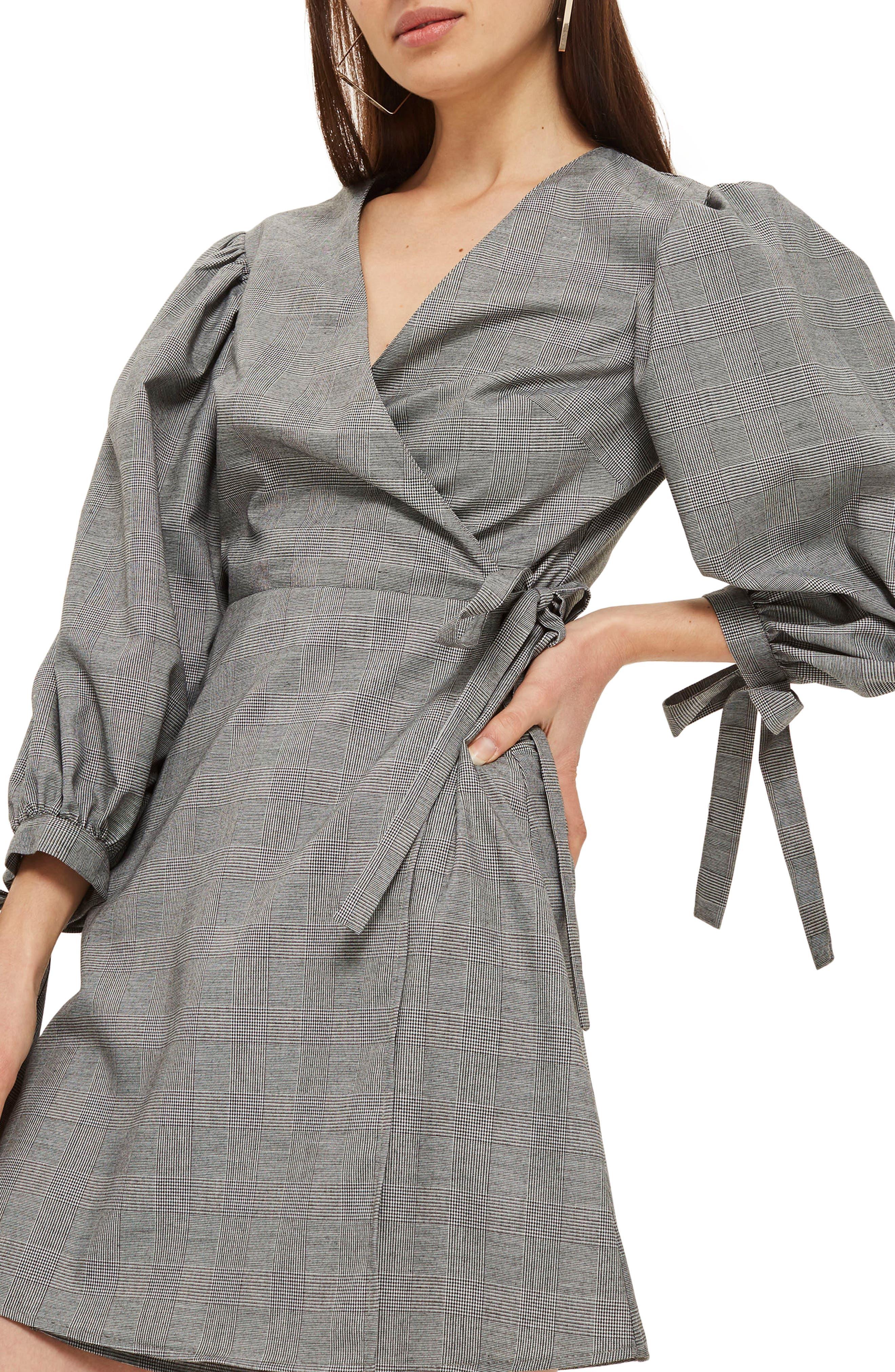 Tie Cuff Wrap Minidress,                             Alternate thumbnail 3, color,                             Grey Multi