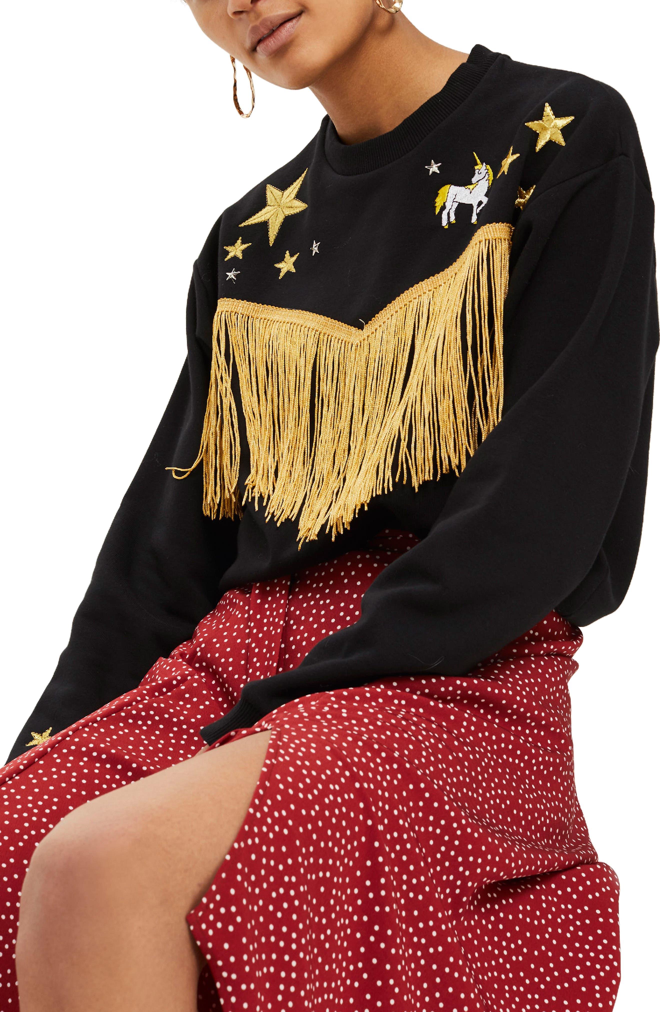 by Tee & Cake Western Fringe Sweatshirt,                         Main,                         color, Black Multi