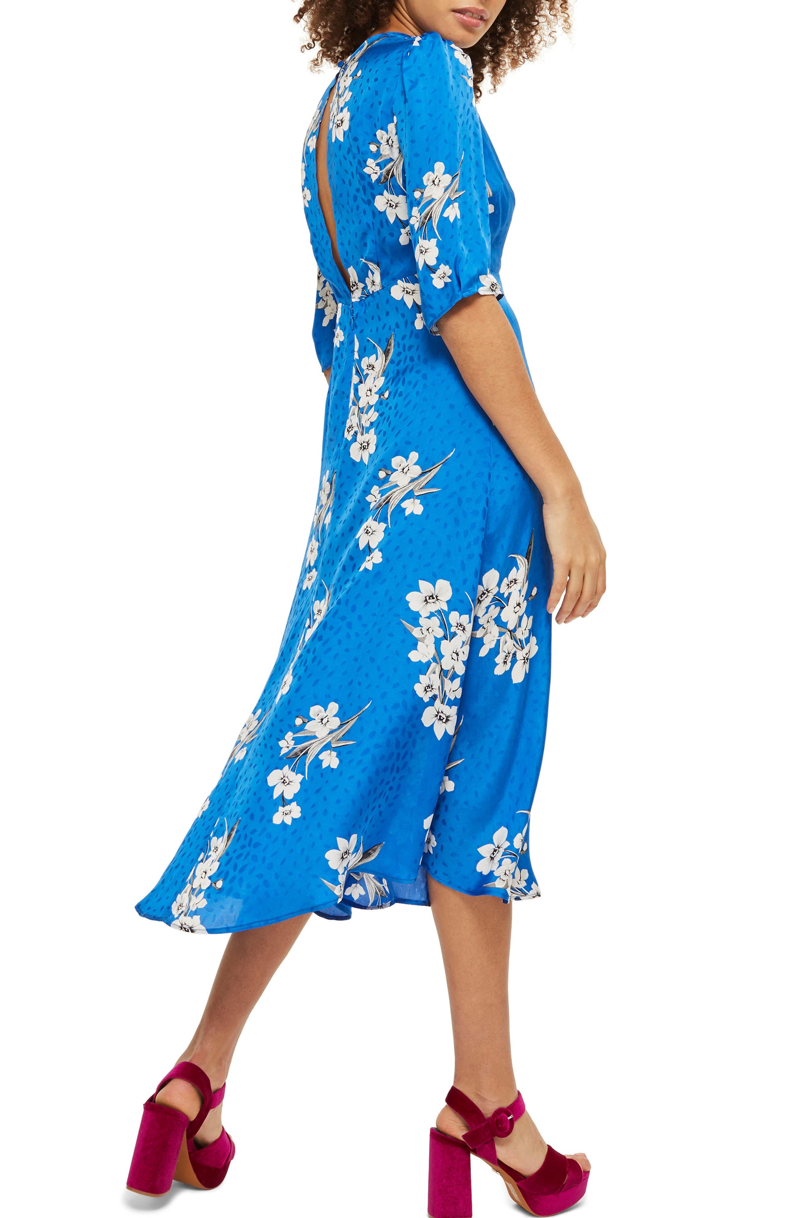 Floral Print Midi Dress,                             Alternate thumbnail 2, color,                             Cobalt Multi