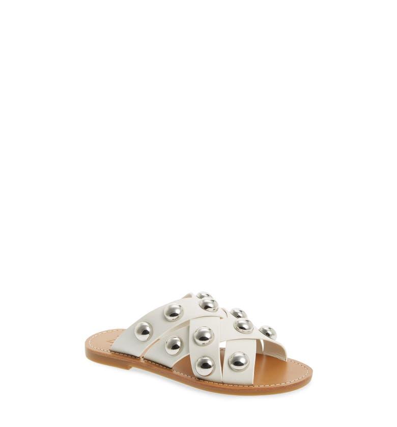 Raidan Studded Sandal,                         Main,                         color, White Leather