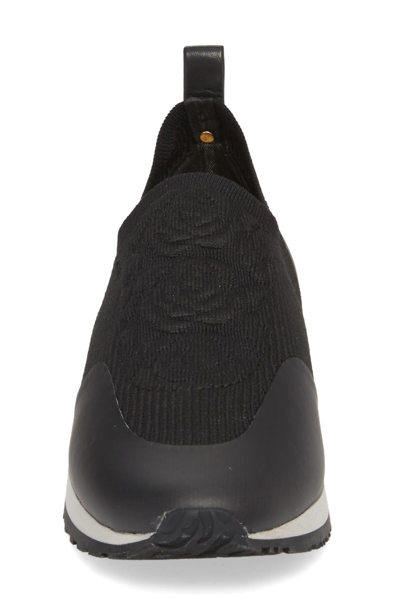 Cara Slip-On Sneaker,                             Alternate thumbnail 4, color,                             Black Fabric