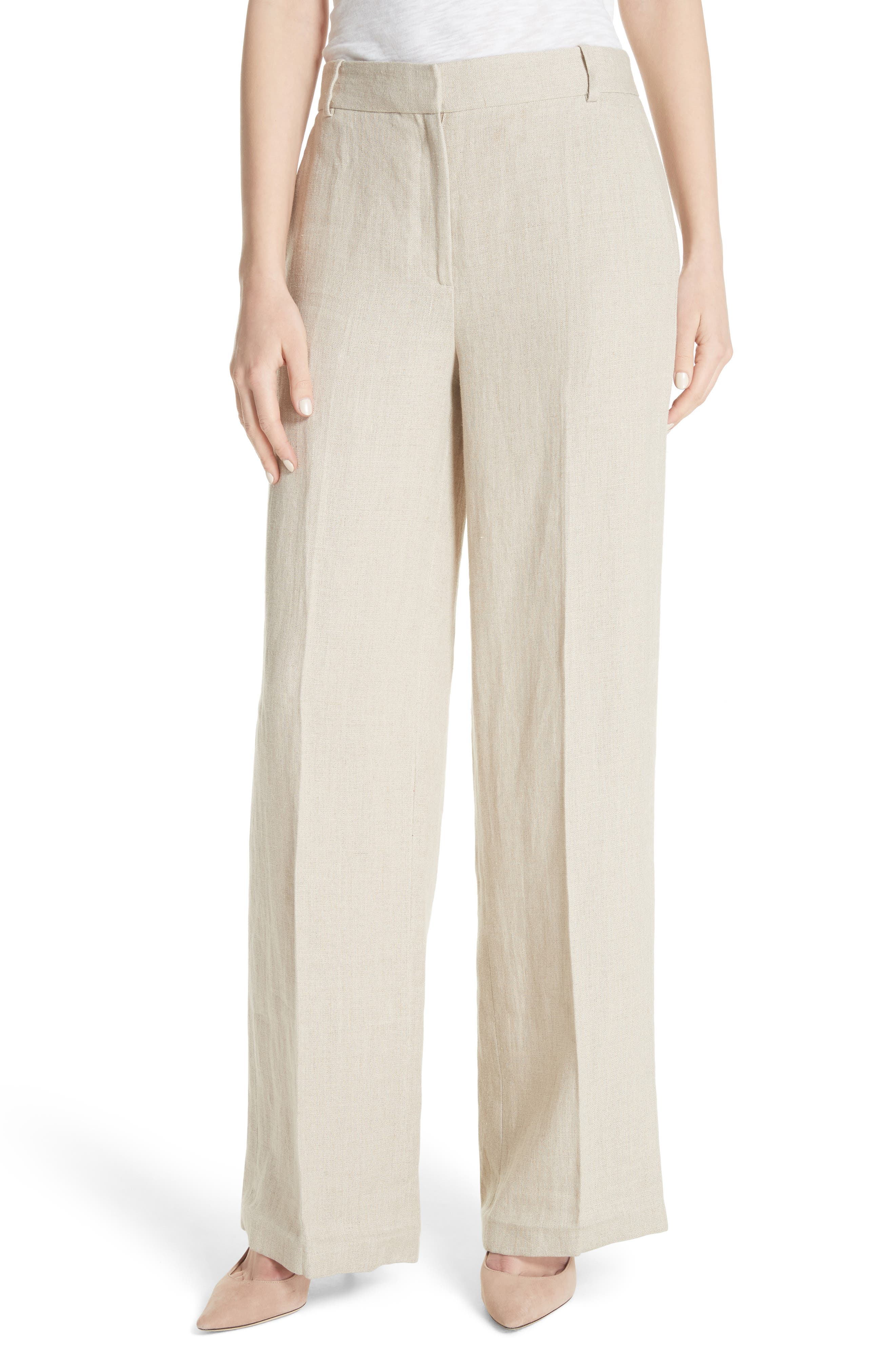 Theory Piazza Integrate Wide Leg Linen Pants