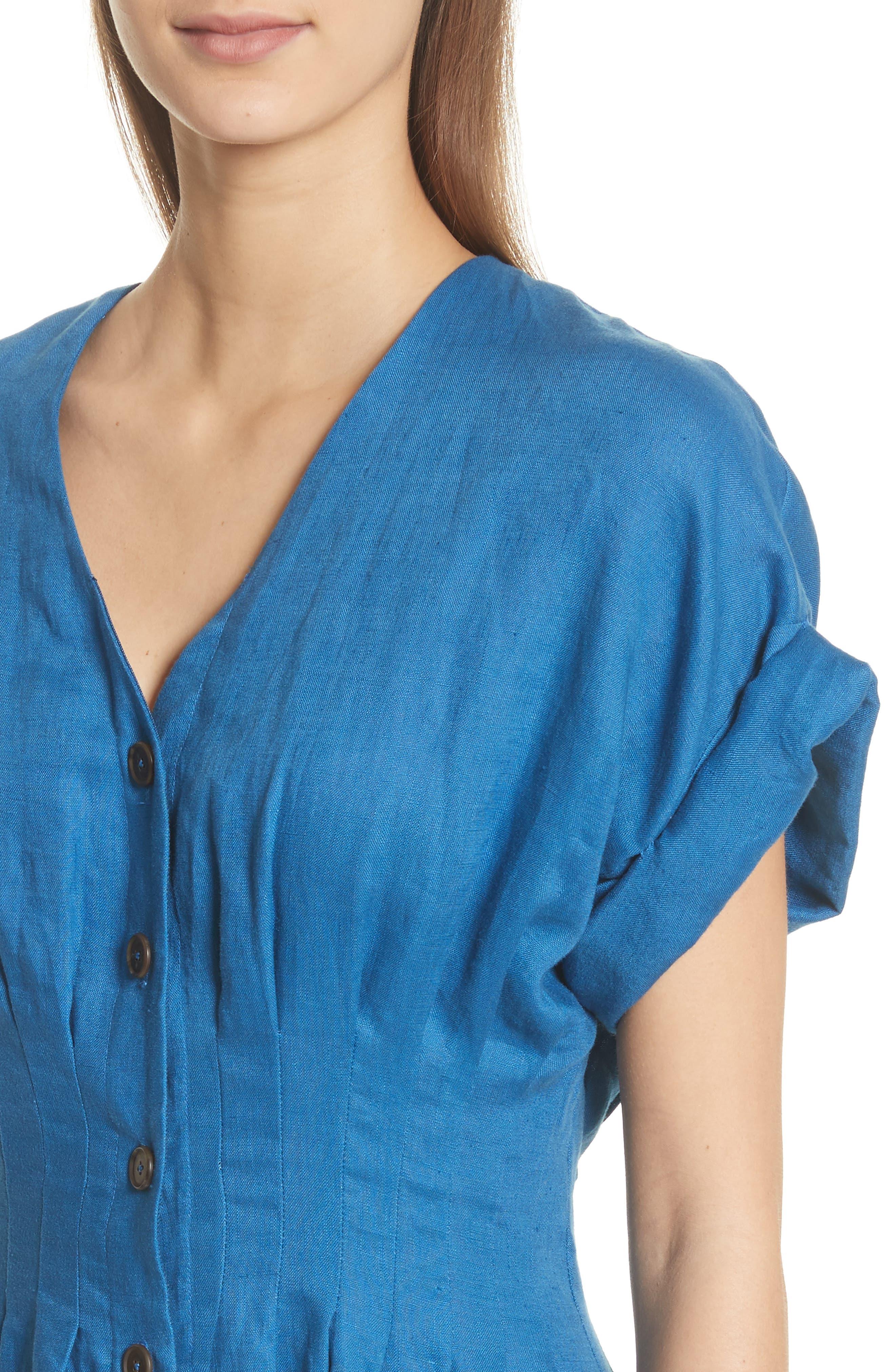 Coraline Pleated Button Front Linen Dress,                             Alternate thumbnail 4, color,                             Blue