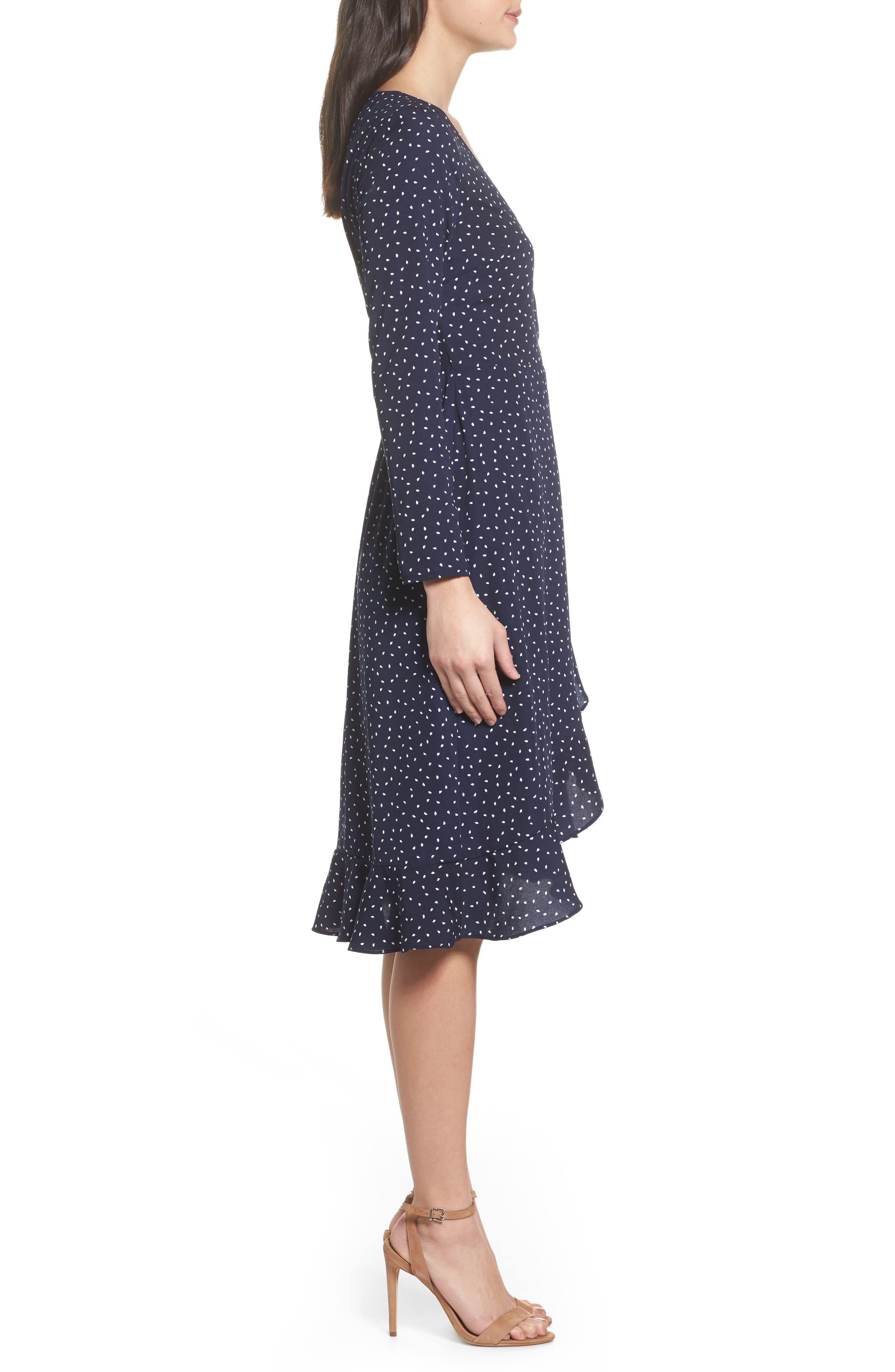 Print Wrap Dress,                             Alternate thumbnail 3, color,                             Small Mixed Dot