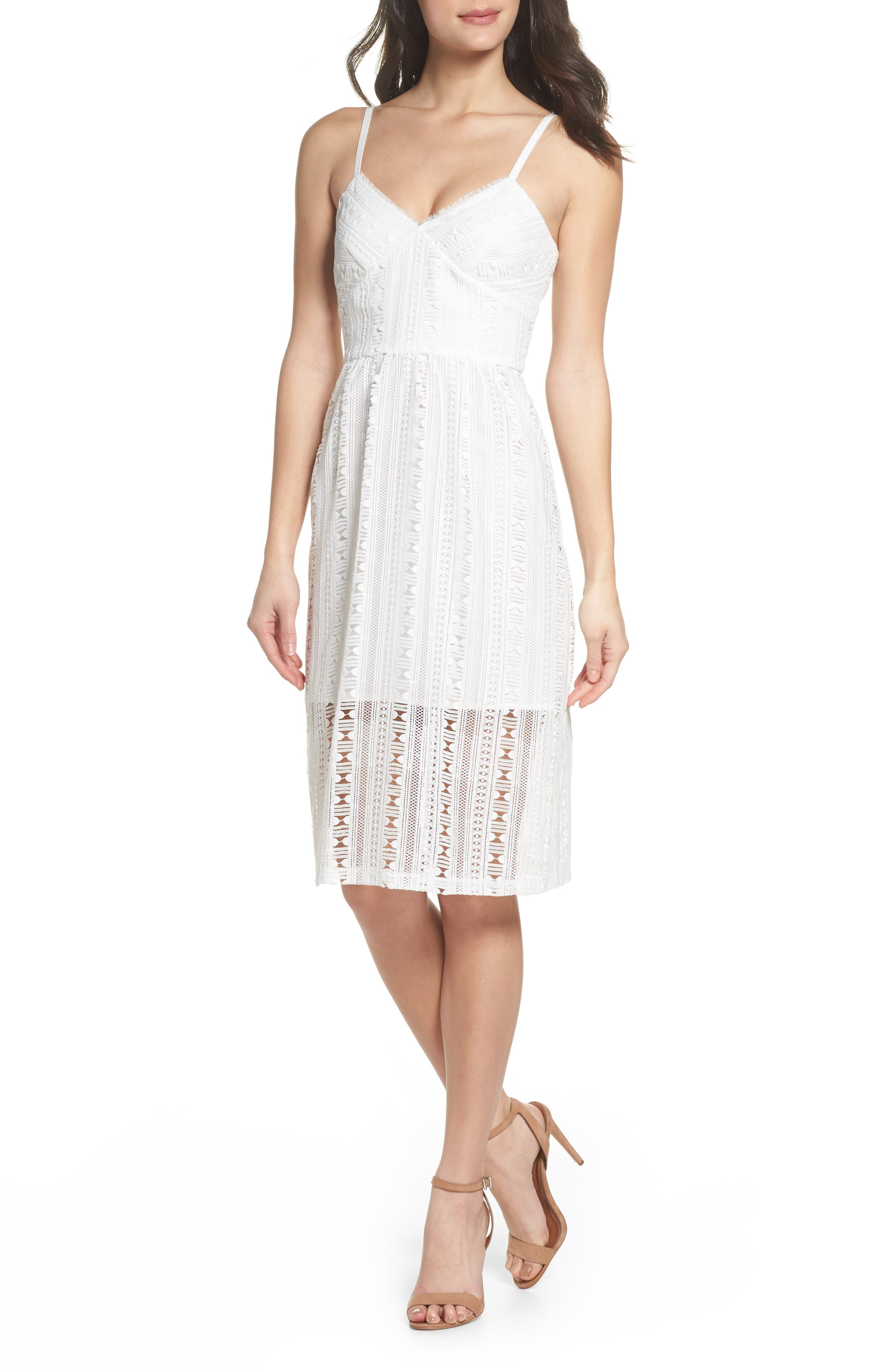 Belissimo Lace Fit & Flare Midi Dress,                             Main thumbnail 1, color,                             White