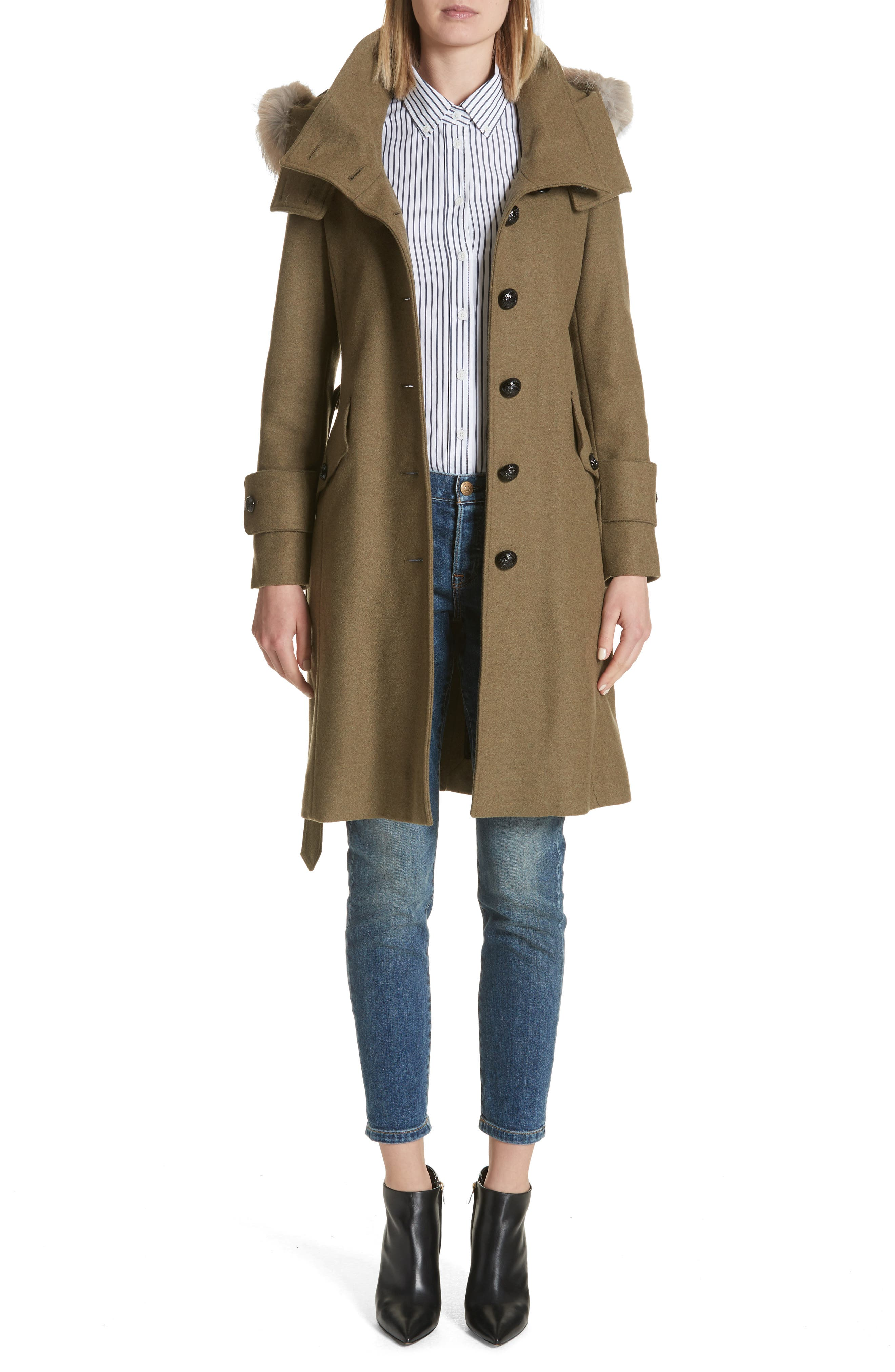 Burberry Claybrooke Wool Blend Coat with Removable Genuine Fox Fur Trim