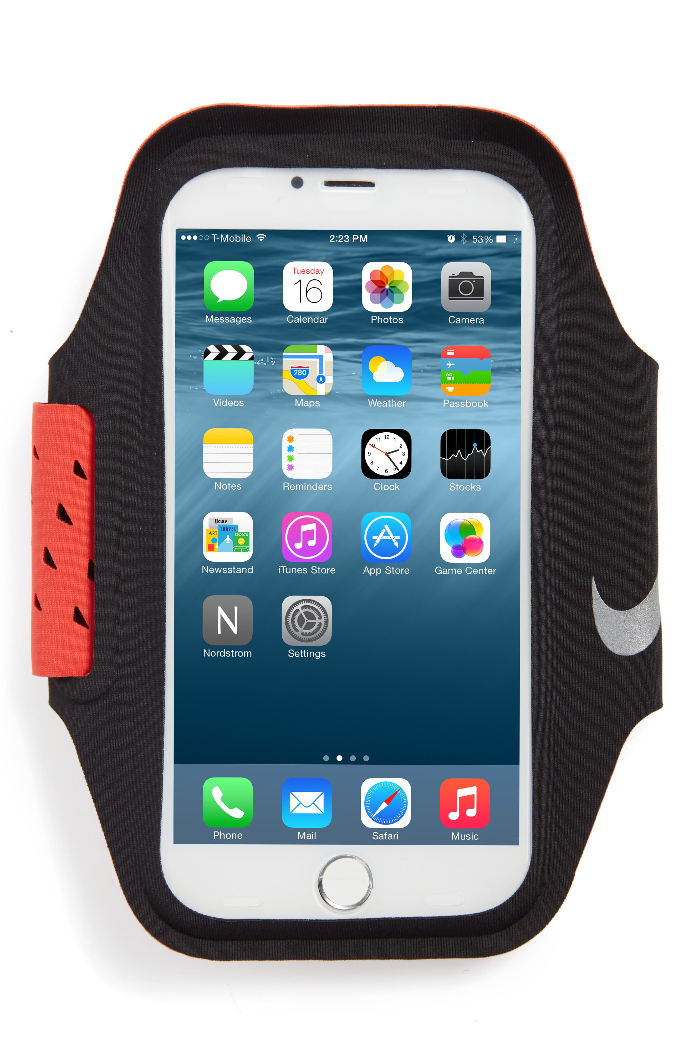 Ventilated Smartphone Arm Band,                         Main,                         color, Black/ Max Orange/ Silver