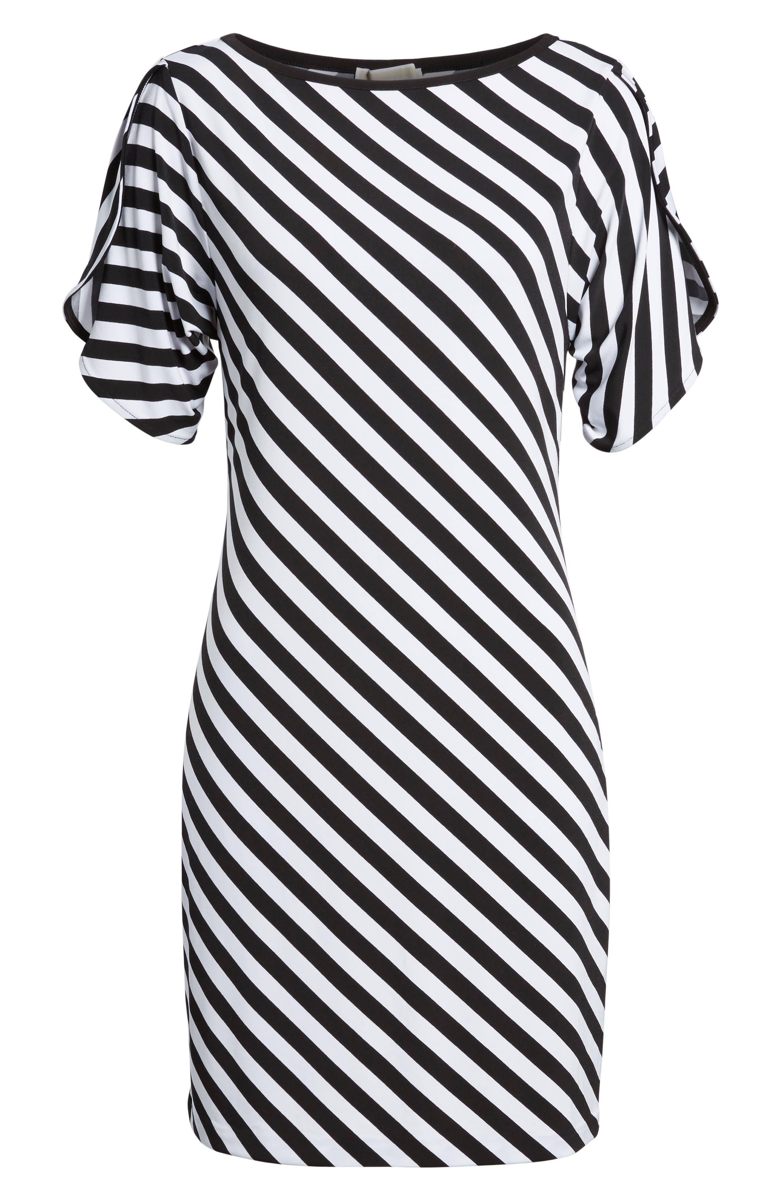 Tulip Sleeve Stripe Dress,                             Alternate thumbnail 6, color,                             Black/ White