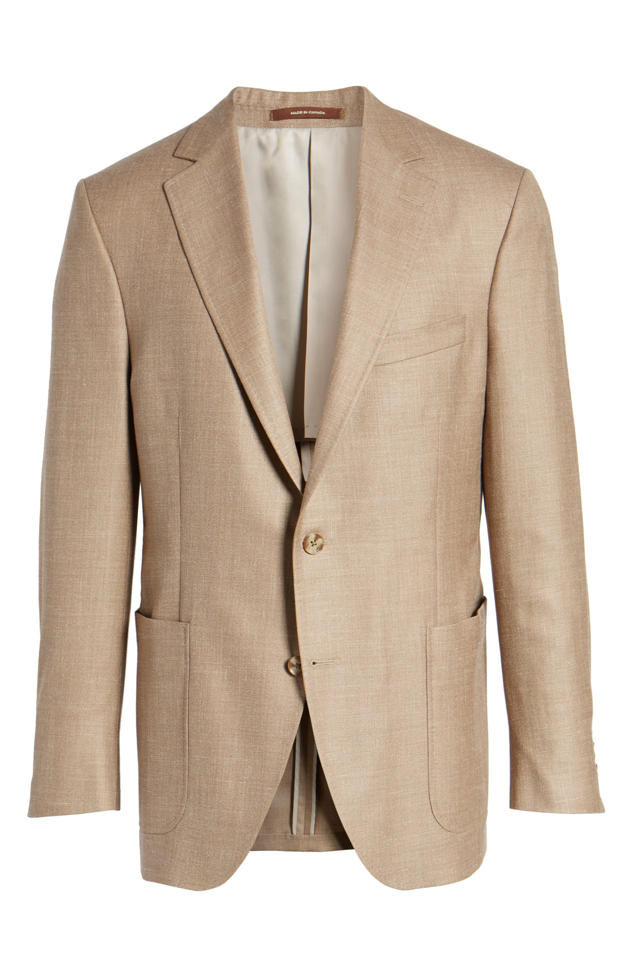 Classic Fit Wool Blend Blazer,                             Alternate thumbnail 6, color,                             Tan