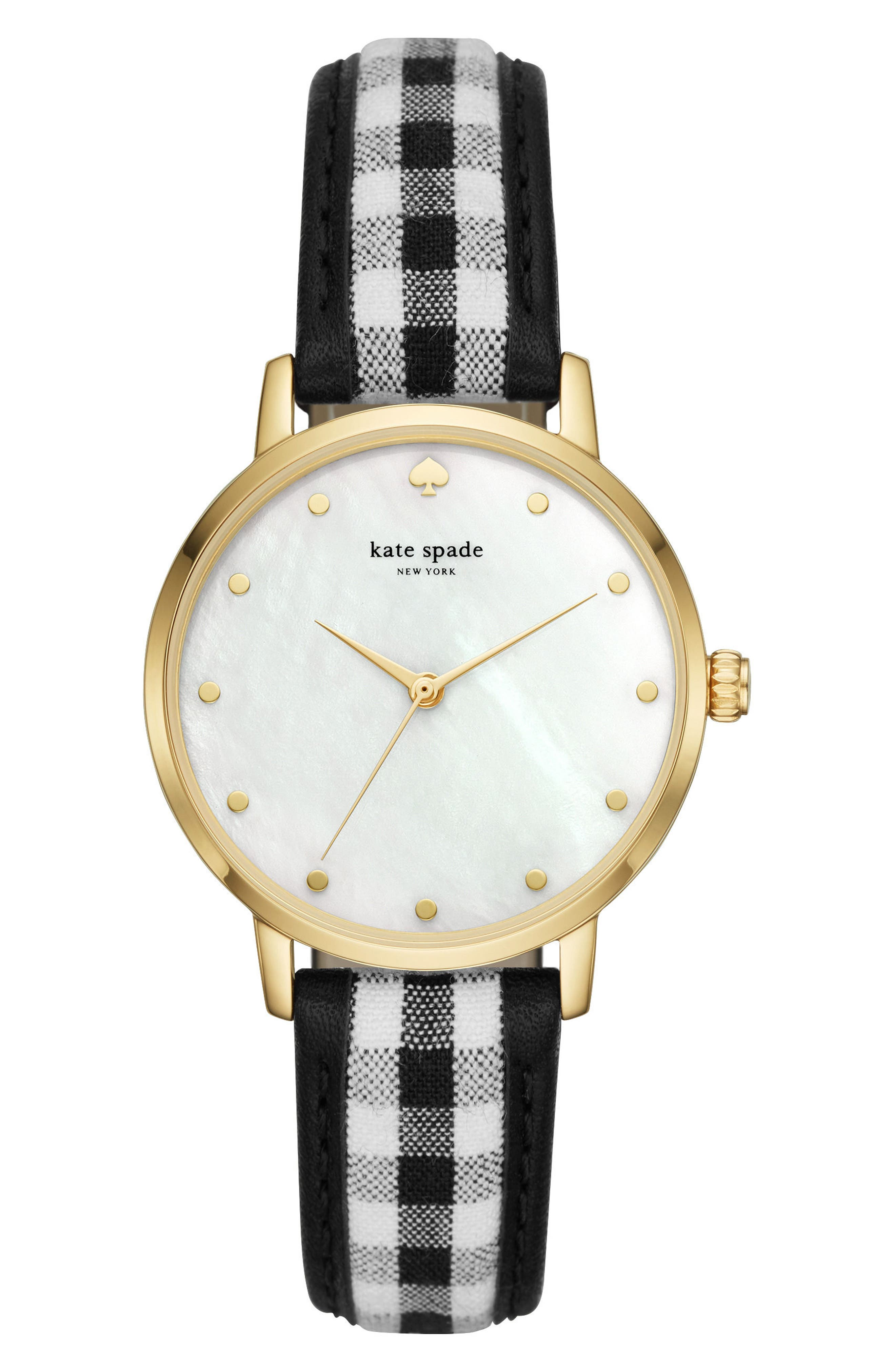metro leather strap watch, 34mm,                         Main,                         color, Black/ Mop/ Gold