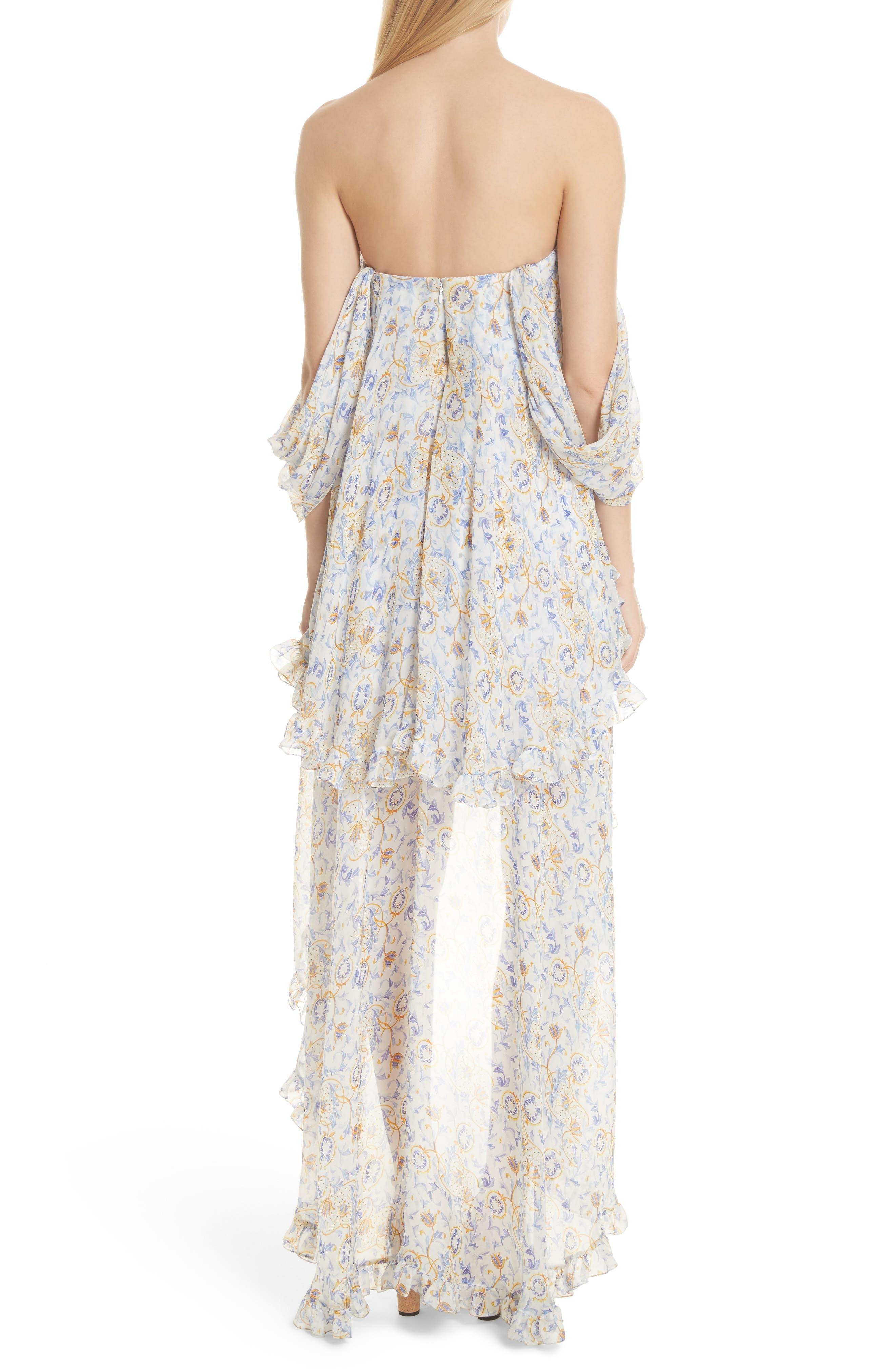 Melina Off the Shoulder High/Low Dress,                             Alternate thumbnail 3, color,                             Blue