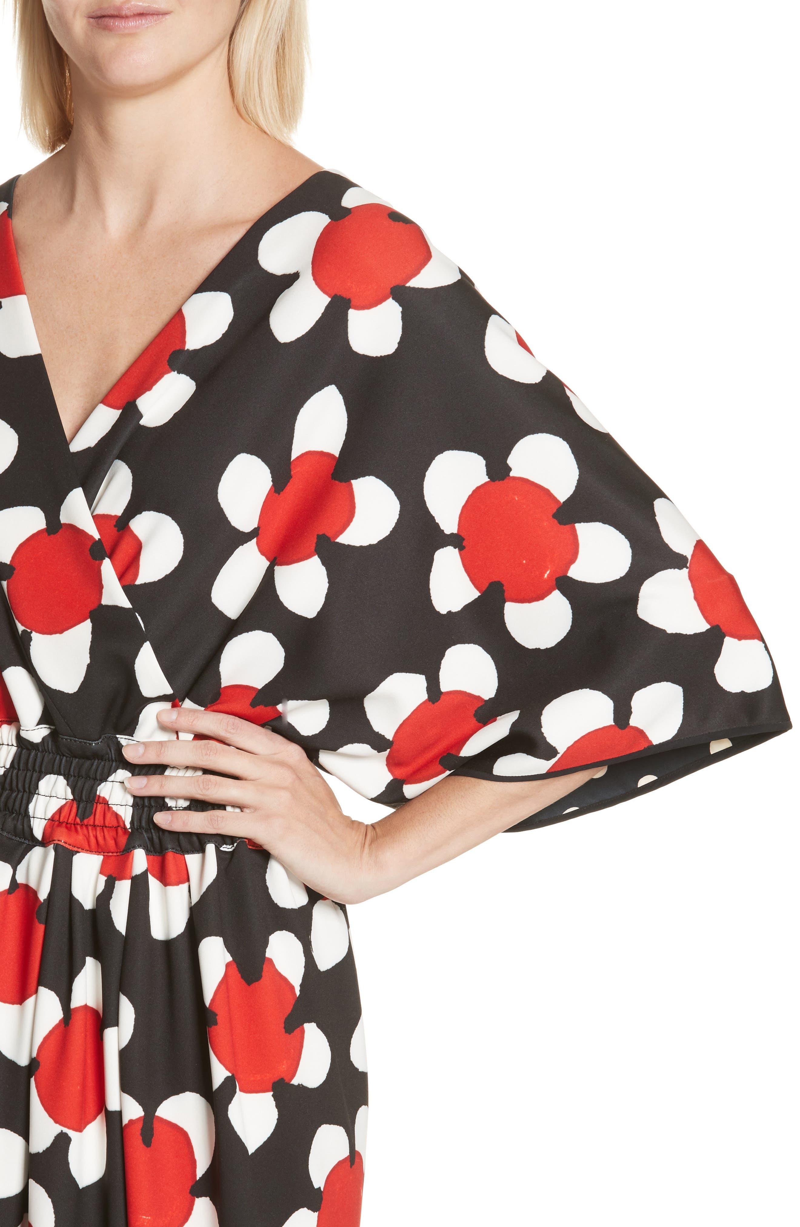 Surplice Neck Floral Print Dress,                             Alternate thumbnail 4, color,                             Red Multi