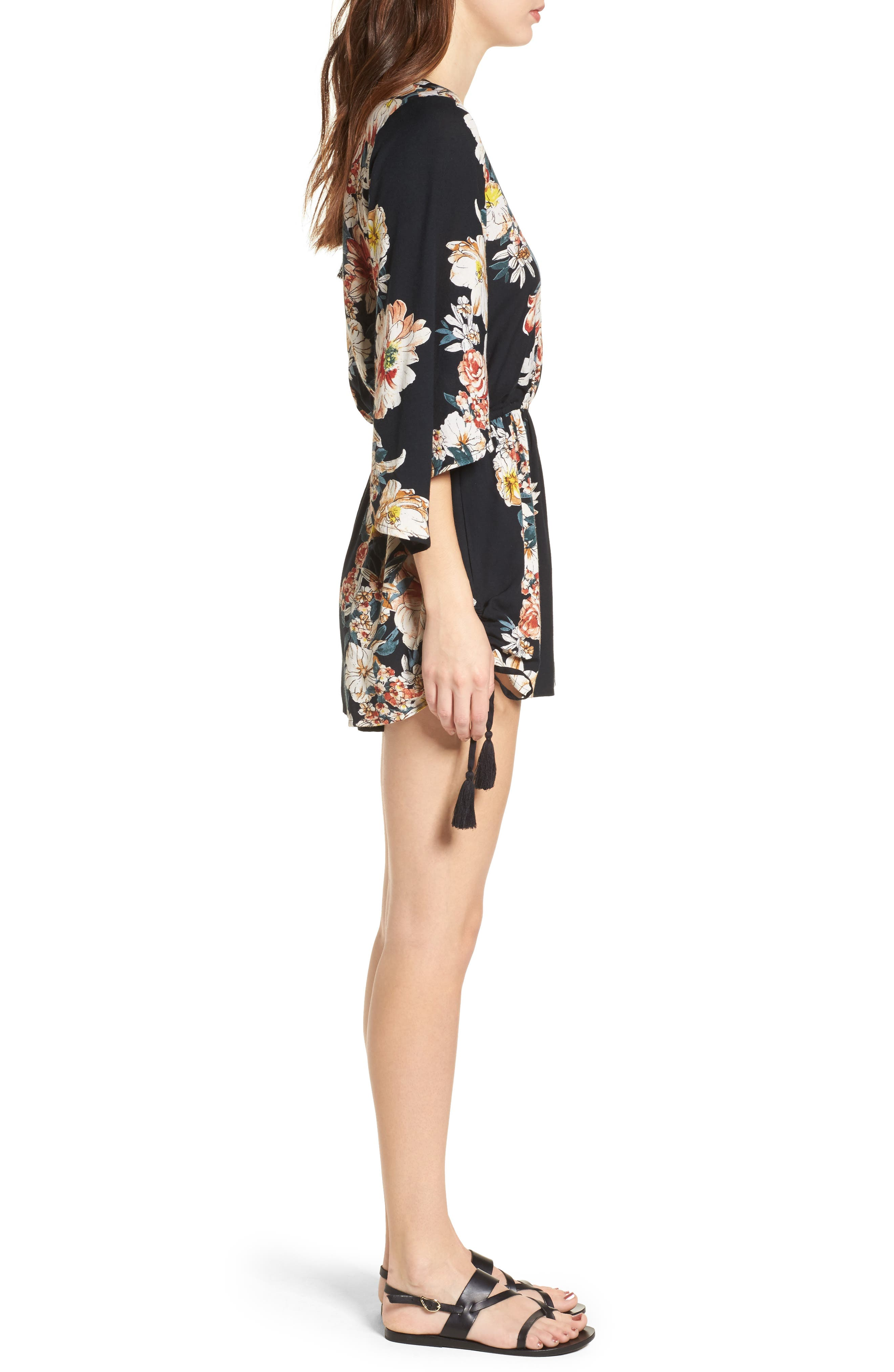 Floral Print Surplice Romper,                             Alternate thumbnail 3, color,                             Black/ Rust