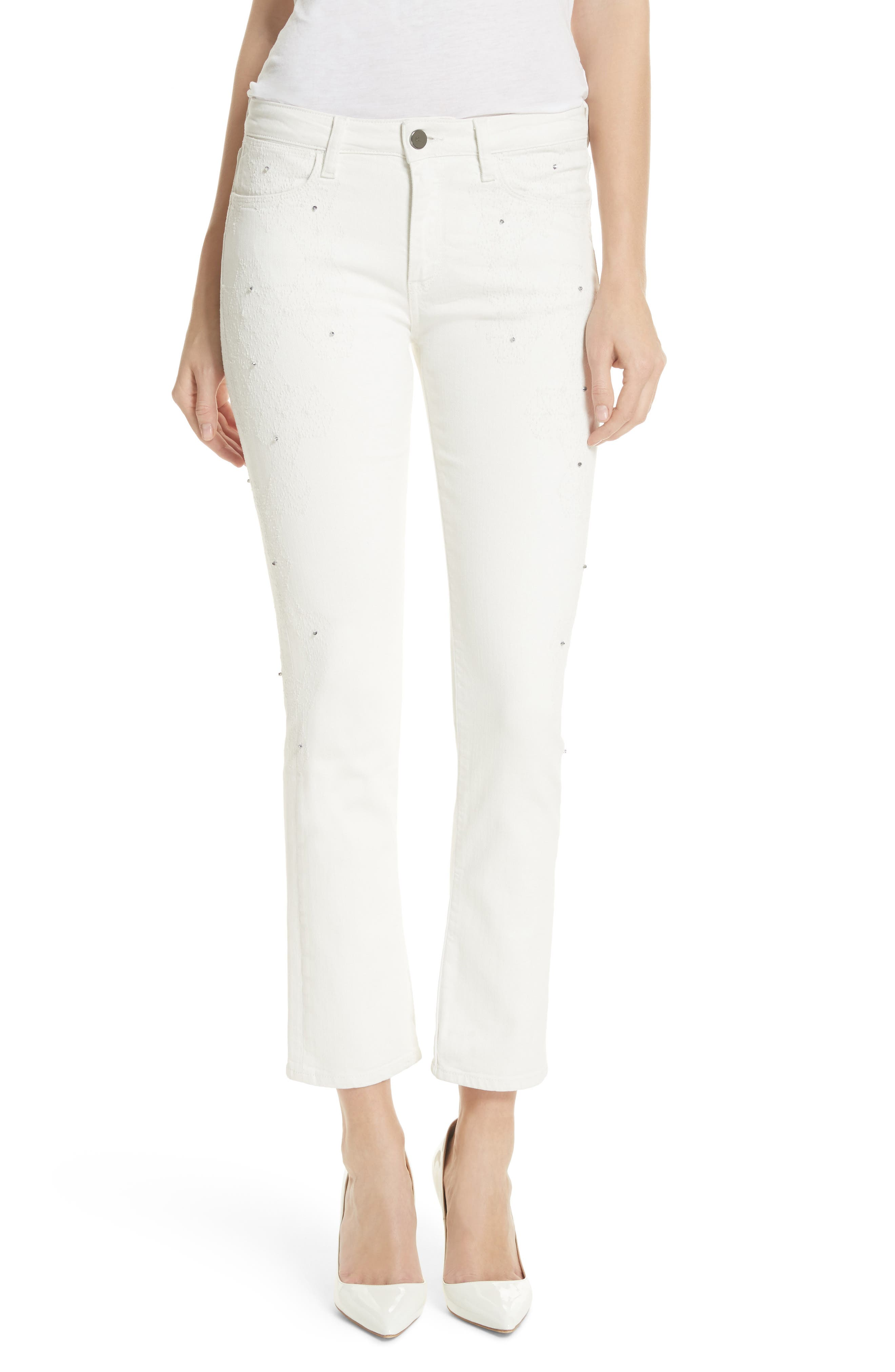 Lilly Crop Slim Fit Jeans,                             Main thumbnail 1, color,                             Kristal White