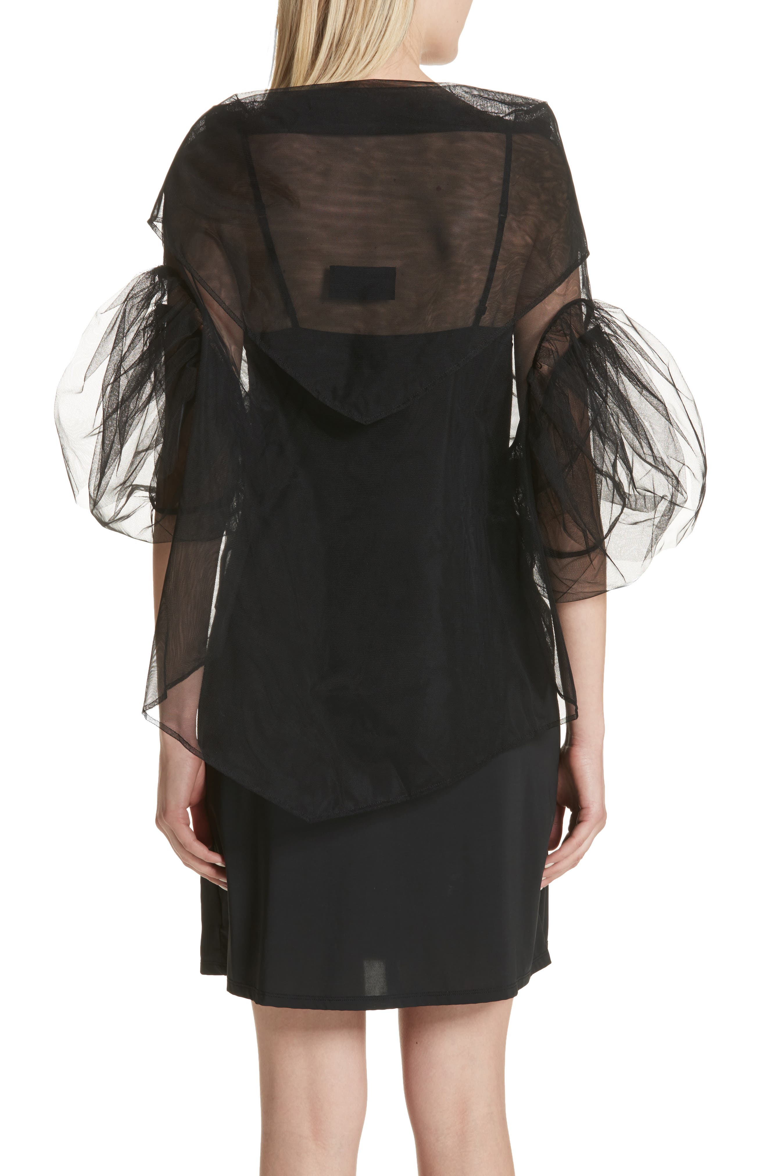 Alternate Image 2  - Simone Rocha Lace Trim Tulle Wrap with Sleeves