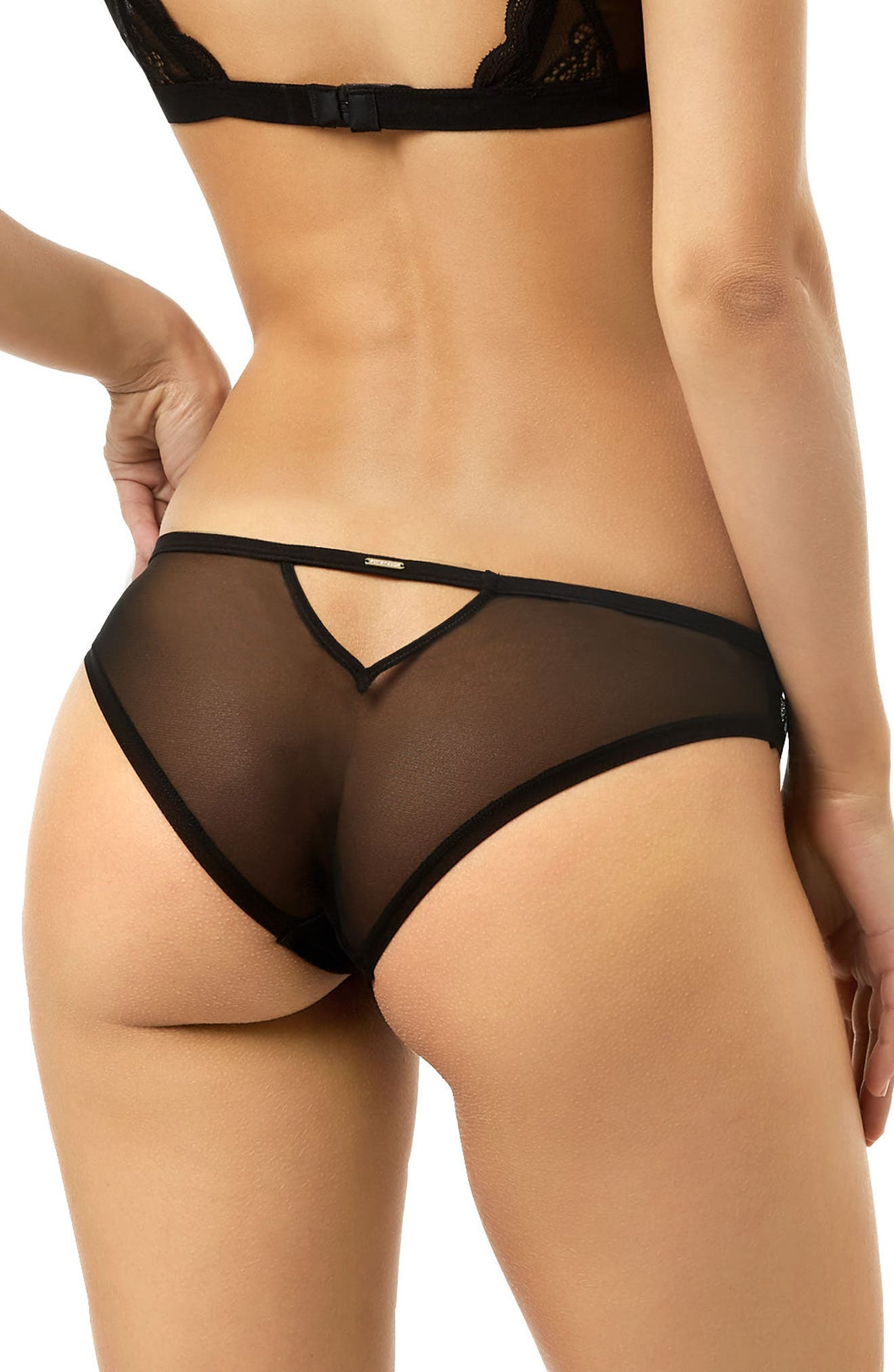 Astrid Cutout Panties,                             Alternate thumbnail 2, color,                             Black